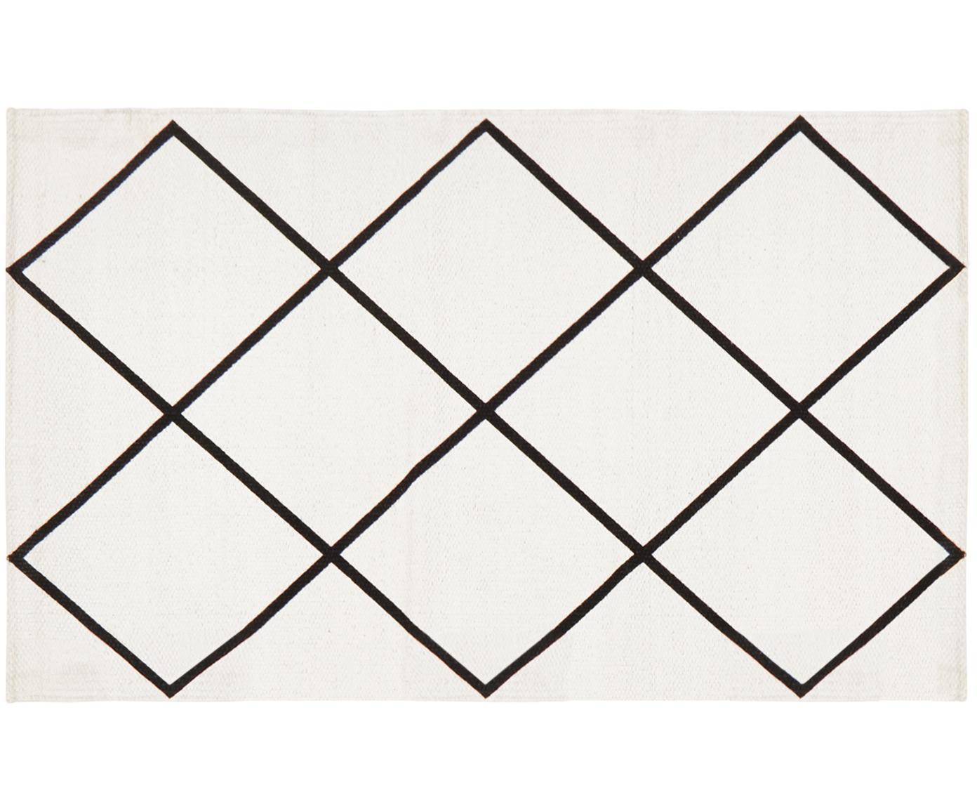 Flachgewebter Baumwollteppich Farah mit Rautenmuster, 100% Baumwolle, Cremeweiß, Schwarz, B 50 x L 80 cm (Größe XXS)