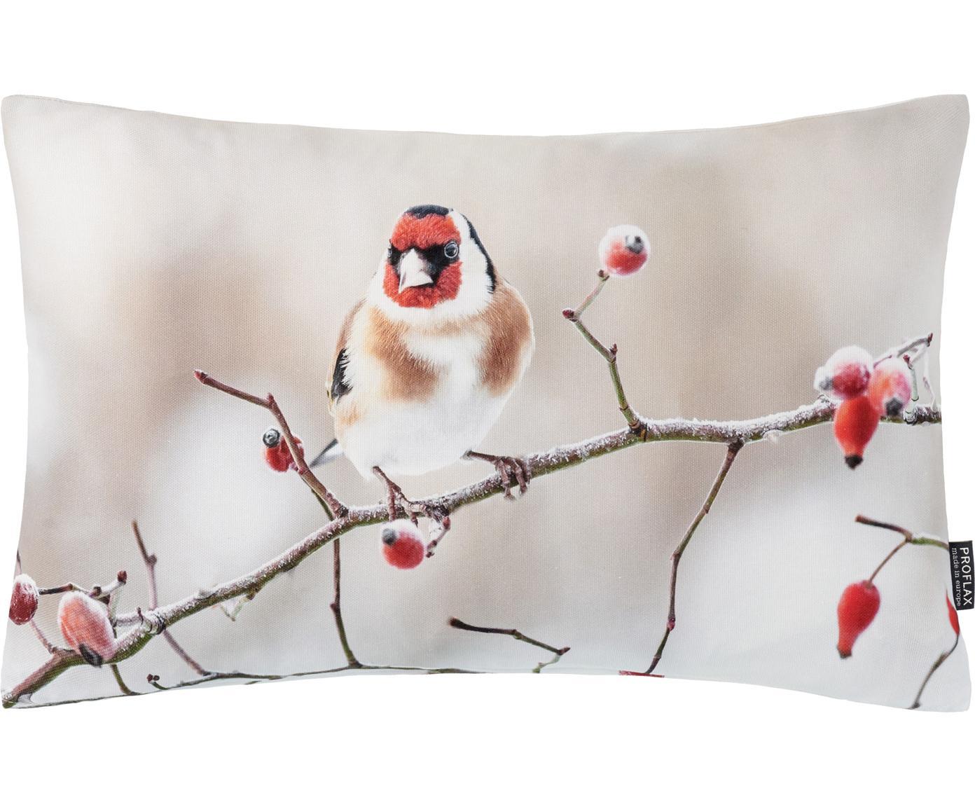 Kissenhülle Irmi, Baumwolle, Beigetöne, Rot, 30 x 50 cm