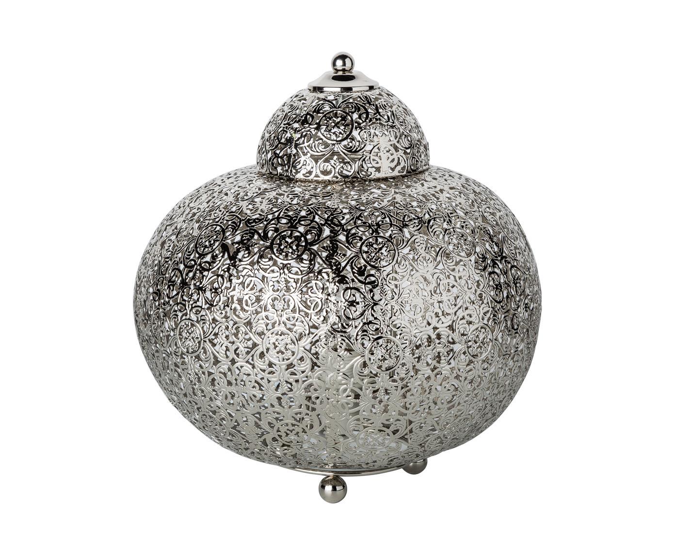 Kleine Boho-Tischleuchte Marocco, Nickel, Nickel, Ø 26 x H 26 cm