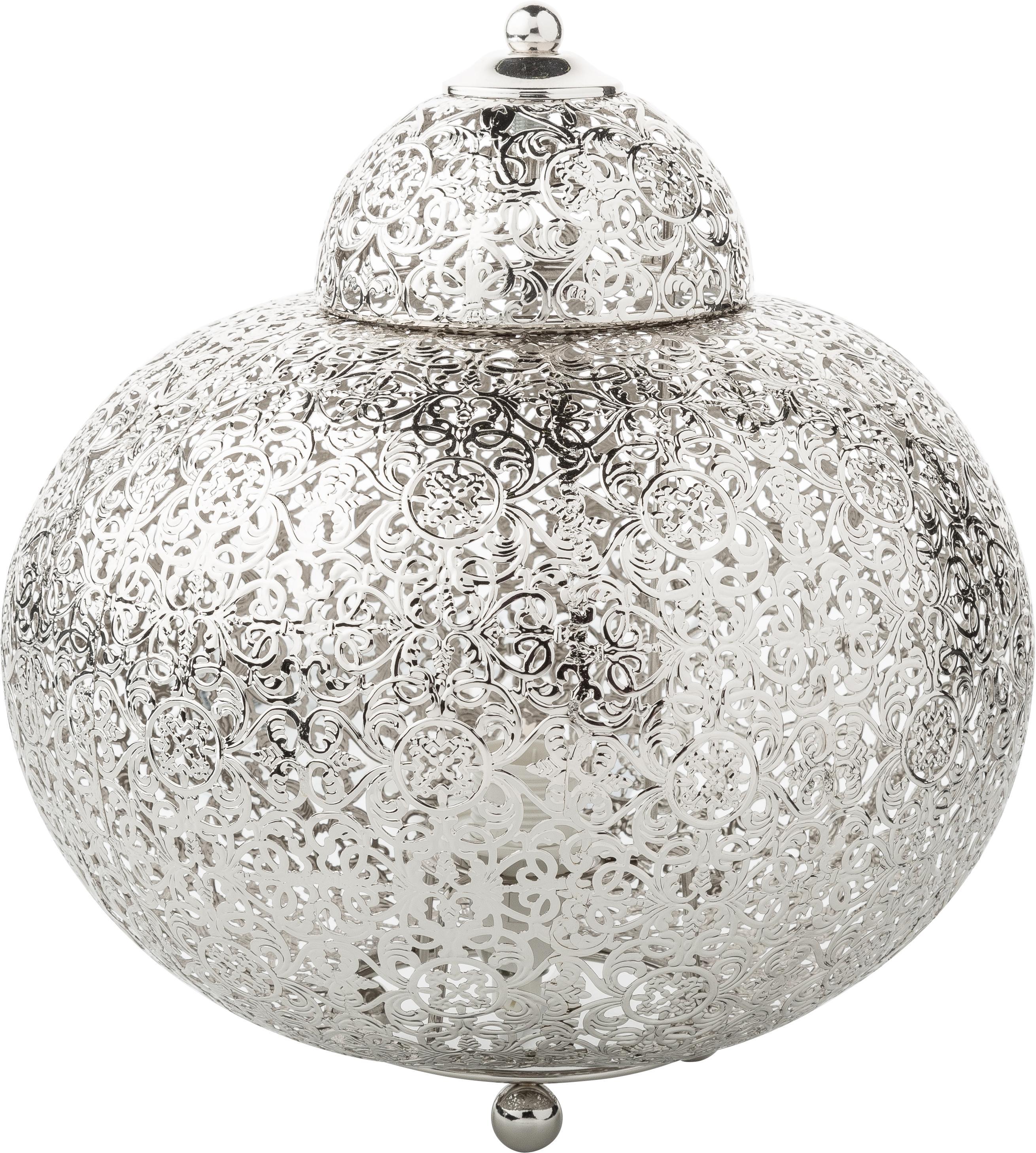 Kleine boho tafellamp Marocco, Nikkel, Nikkelkleurig, Ø 26 x H 26 cm