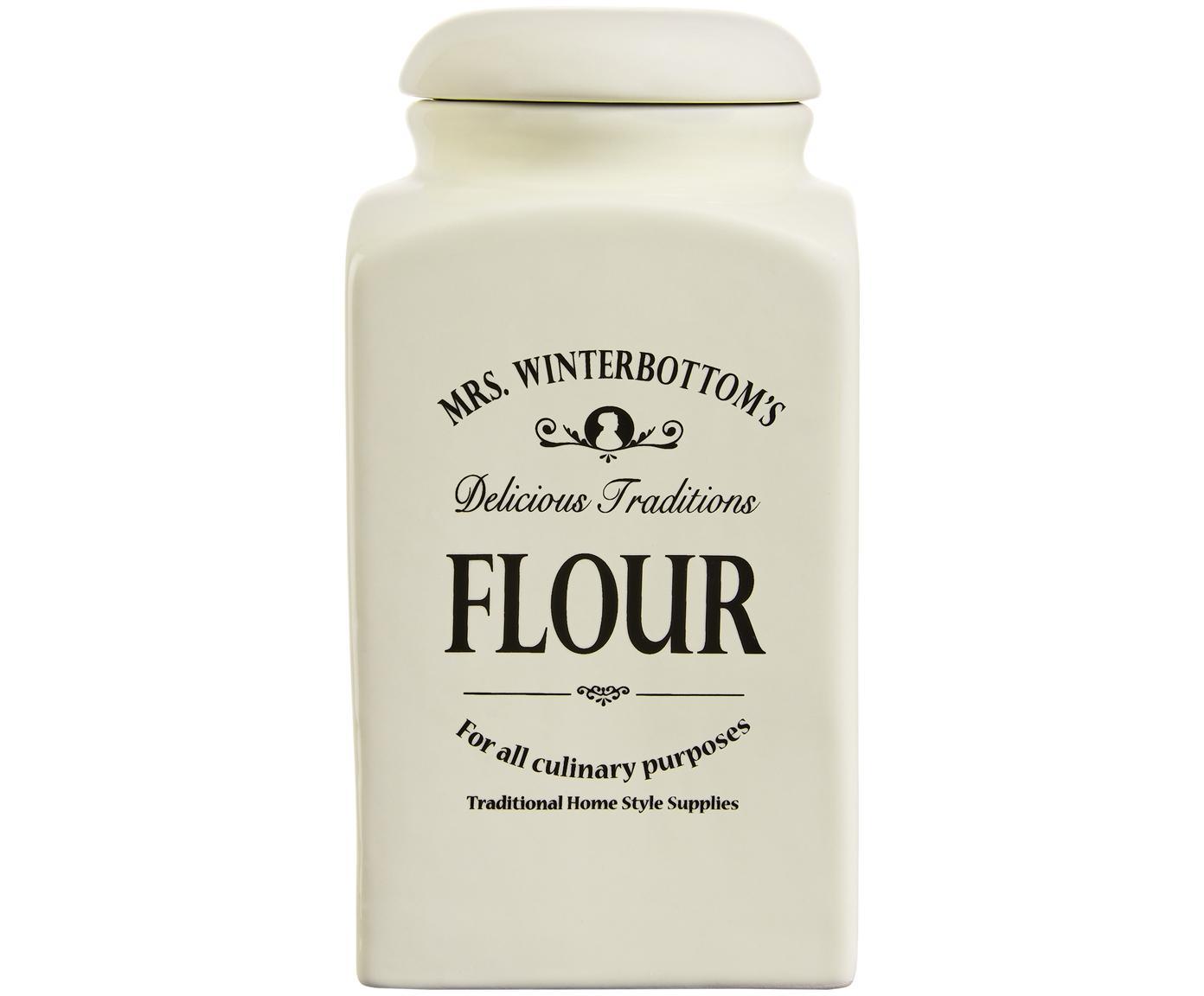Opbergpot Mrs Winterbottoms Flour, Keramiek, Crèmekleurig, zwart, Ø 11 cm