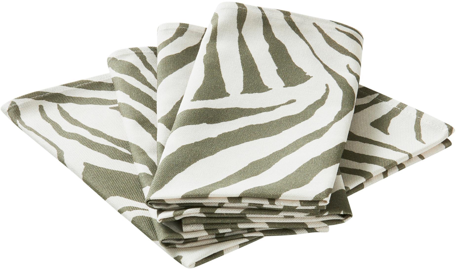 Katoenen servetten Zadie, 4 stuks, 100% katoen, afkomstig van duurzame katoenteelt, Olijfgroen, crèmewit, 45 x 45 cm