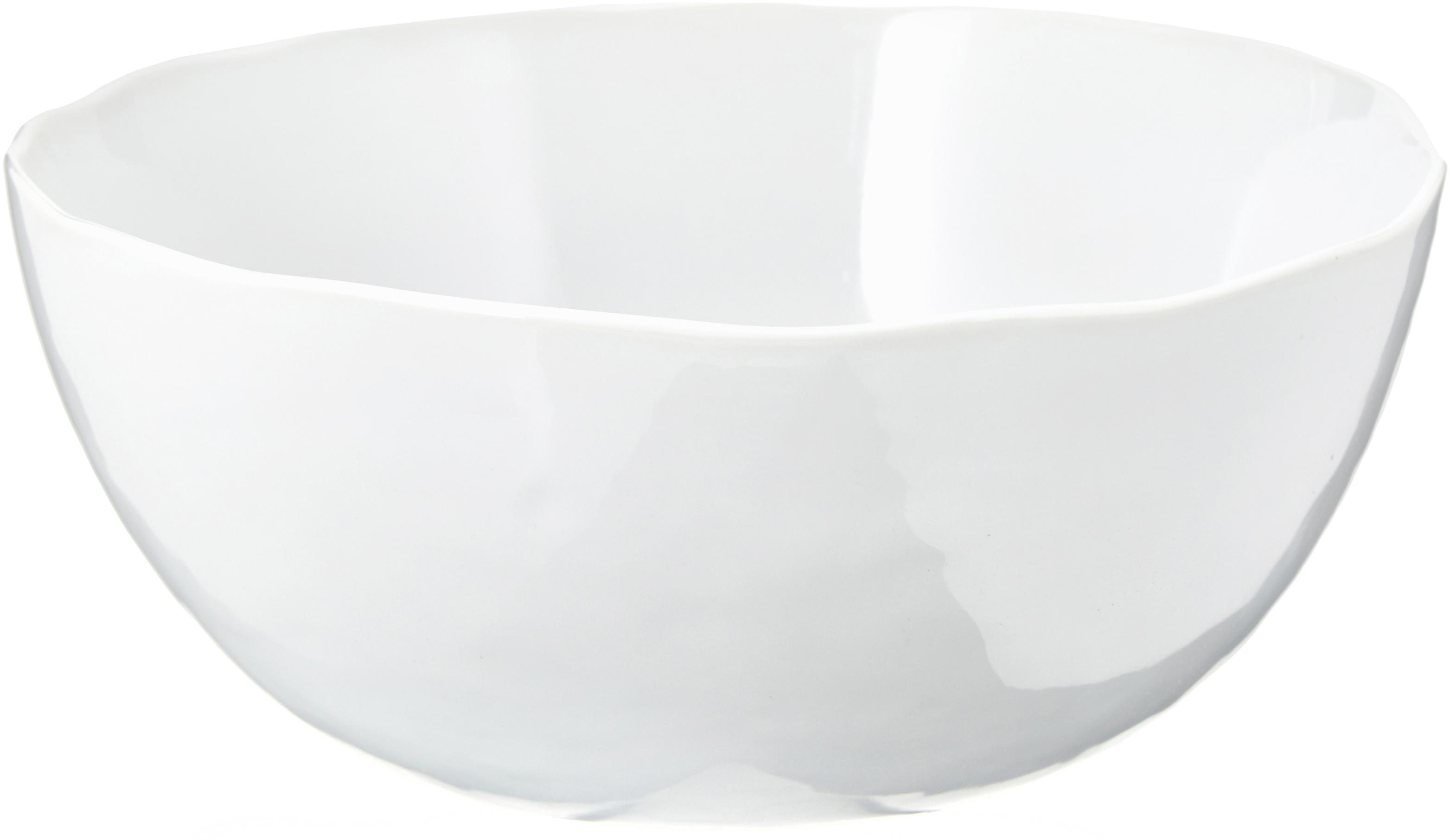 Ciotola centrotavola con superficie irregolare Porcelino, Porcellana, volutamente irregolare, Bianco, Ø 24 x A 10 cm