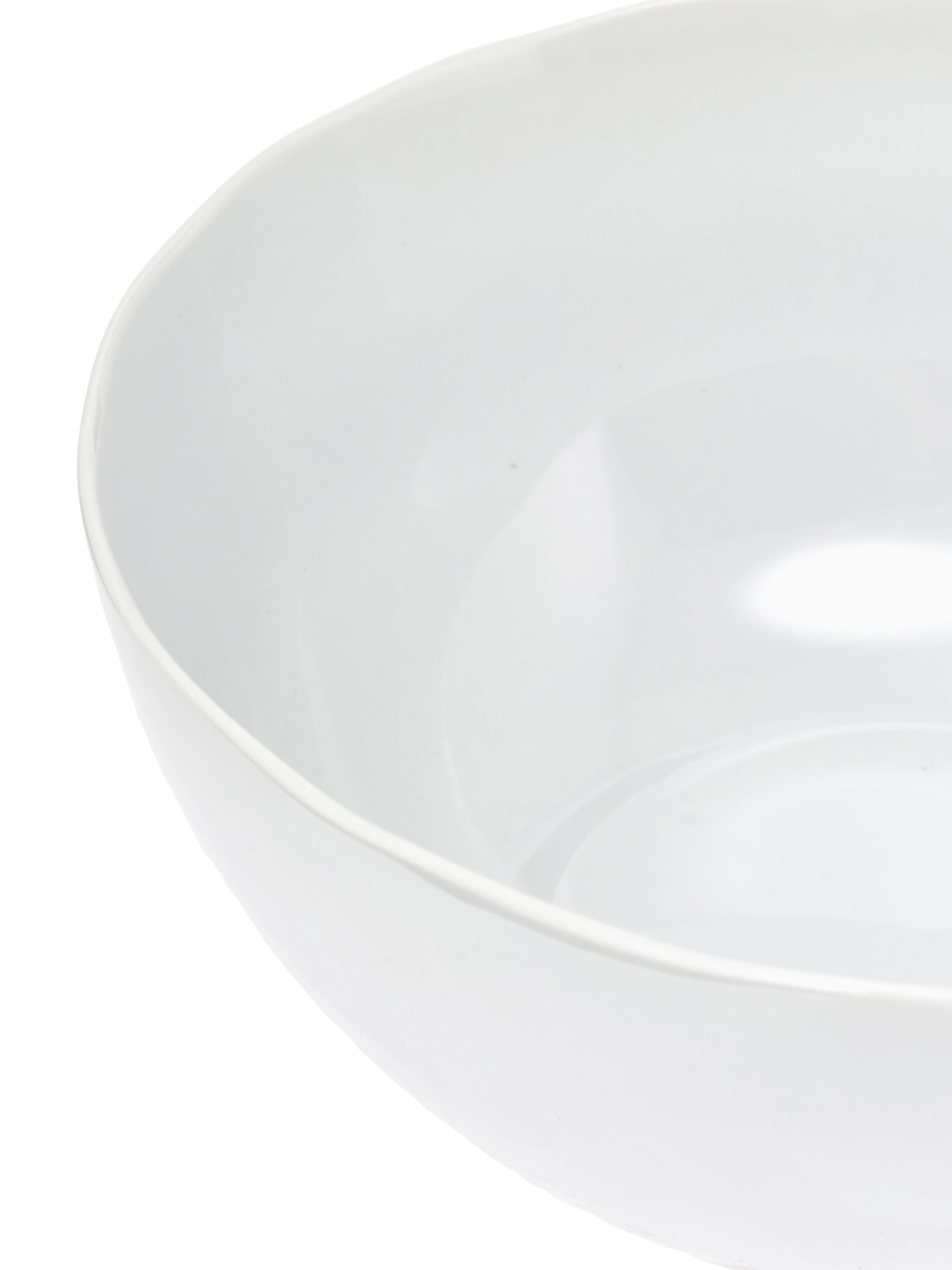 Schüssel Porcelino mit unebener Oberfläche, Porzellan, gewollt ungleichmäßig, Weiß, Ø 24 x H 10 cm