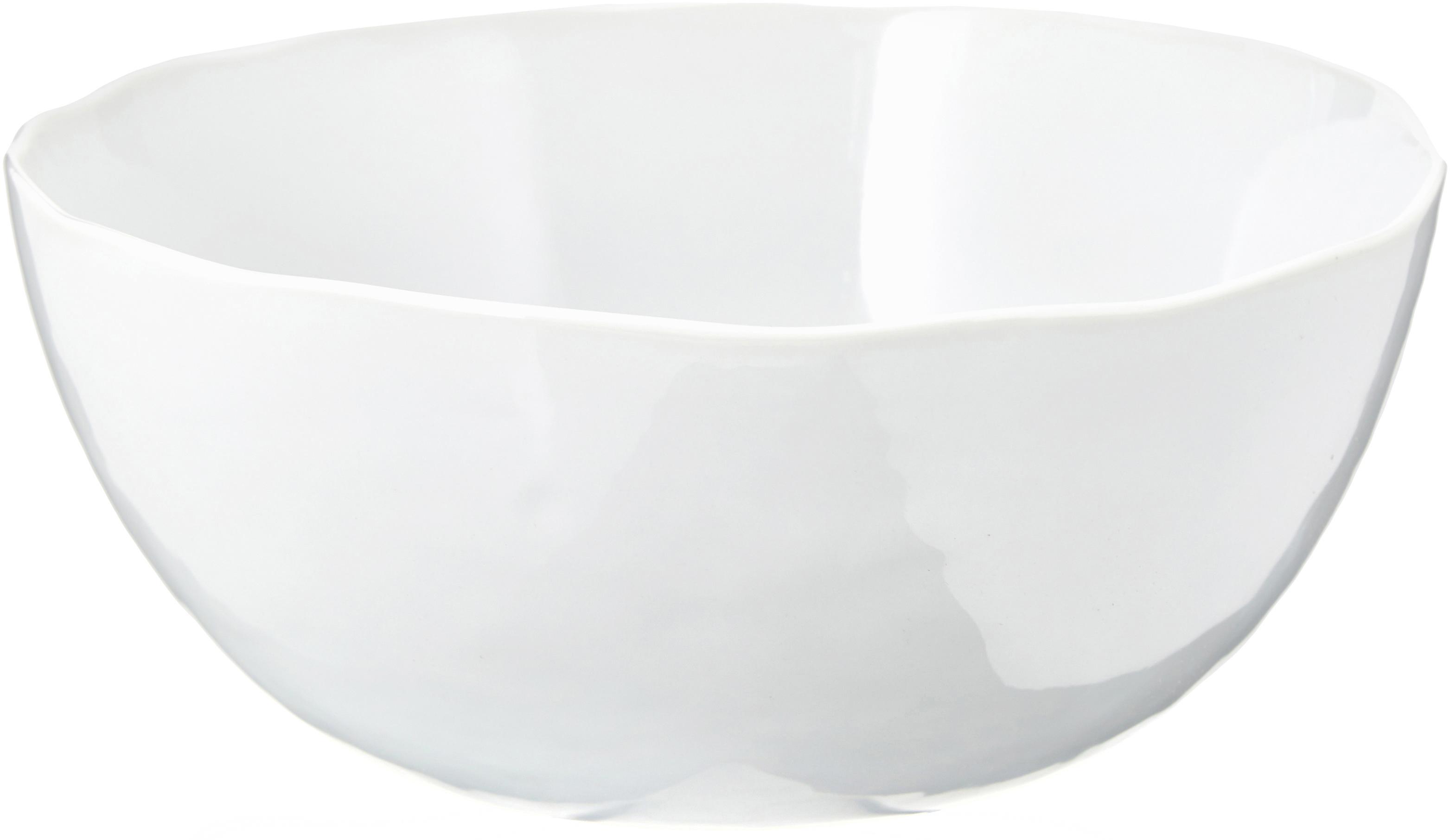 Schüssel Porcelino mit unebener Oberfläche, Porzellan, gewollt ungleichmässig, Weiss, Ø 24 x H 10 cm