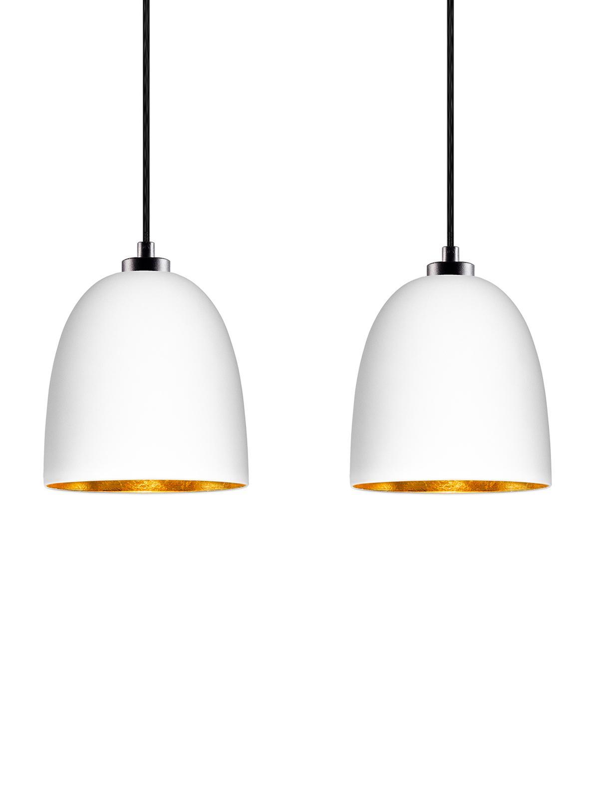 Lampada a sospensione in vetro Awa Double, Baldacchino: acciaio verniciato a polv, Bianco, nero, Larg. 67 x Alt. 155 cm