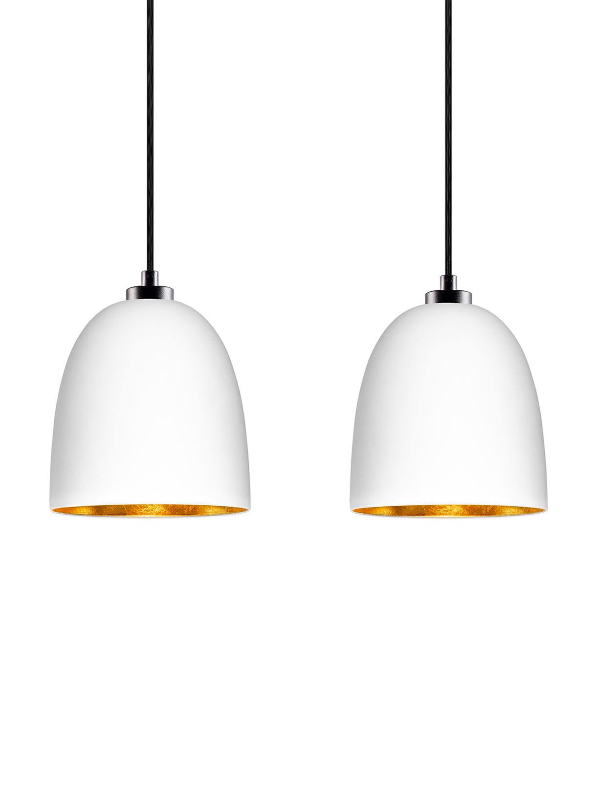 Hanglamp Awa Double van glas, Baldakijn: gepoedercoat staal, Wit, zwart, 67 x 155 cm