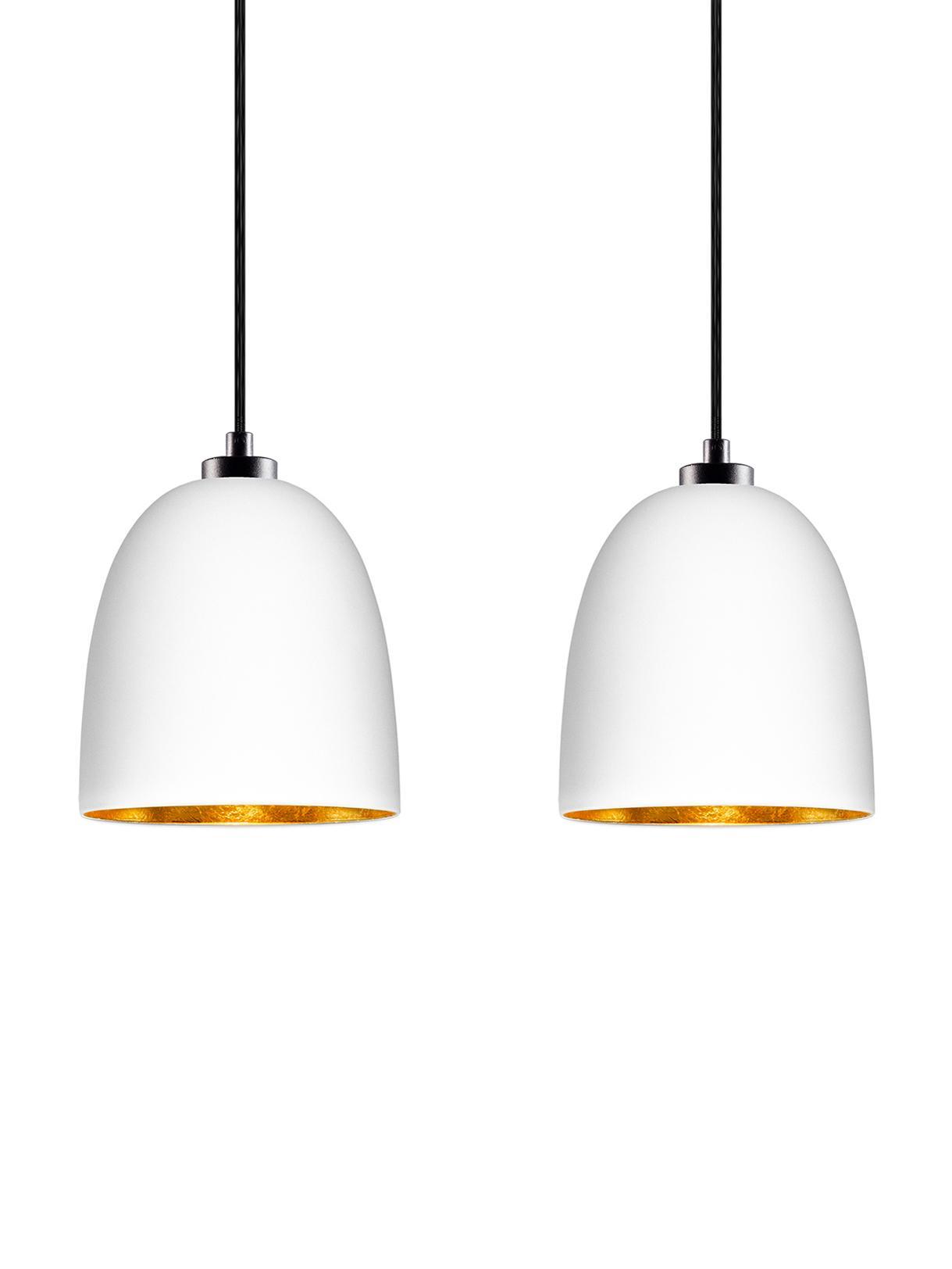 Lampa wisząca ze szkła Awa Double, Biały, czarny, S 67 x W 155 cm