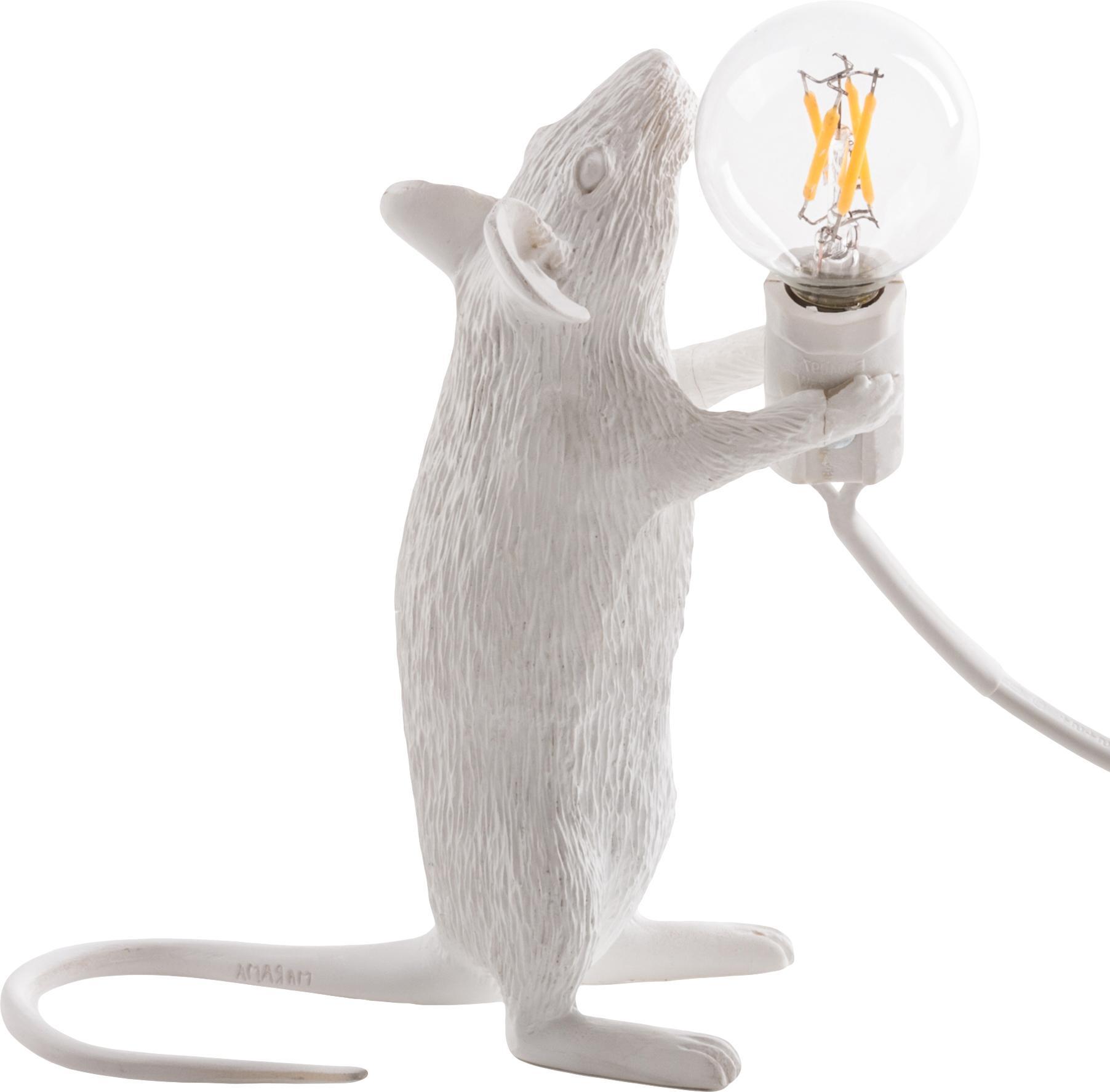 Lámpara de mesa de diseño Mouse, Lámpara: resina, Cable: plástico, Blanco, An 6 x Al 15