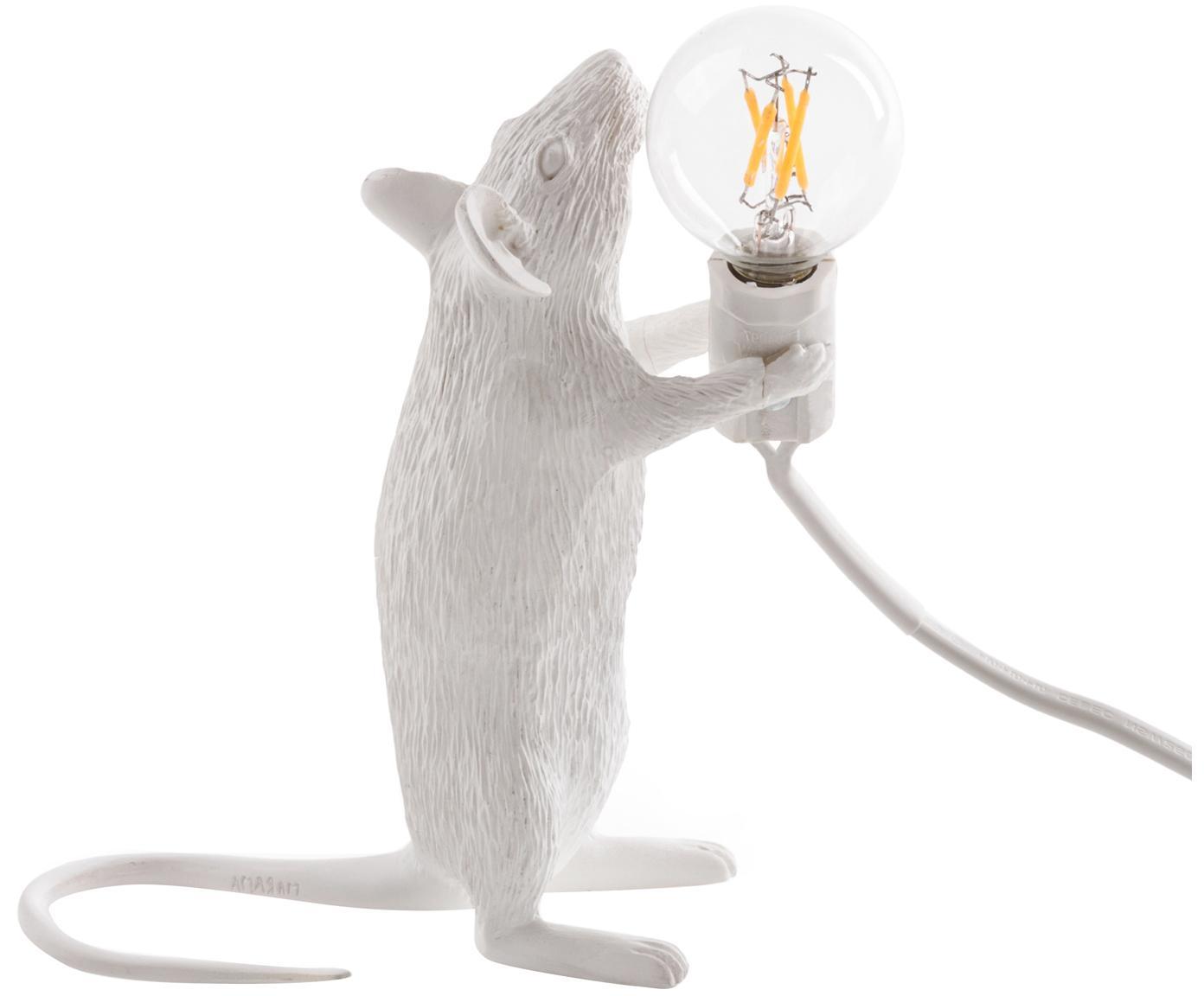 Lampada da tavolo a LED Mouse, Resina, Bianco, Larg. 6 x Alt. 15 cm