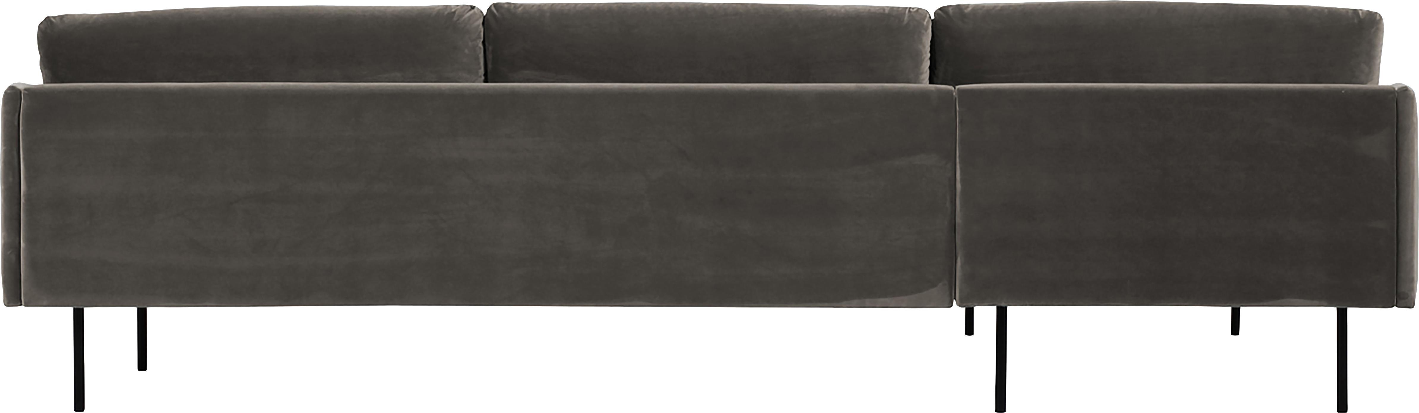 Samt-Ecksofa Moby, Bezug: Samt (Hochwertiger Polyes, Gestell: Massives Kiefernholz, Füße: Metall, pulverbeschichtet, Samt Braungrau, B 280 x T 160 cm