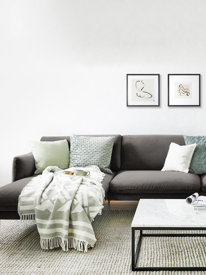 Fluwelen hoekbank Moby, Bekleding: fluweel (hoogwaardige pol, Frame: massief grenenhout, Poten: gepoedercoat metaal, Bruin, B 280 x D 160 cm