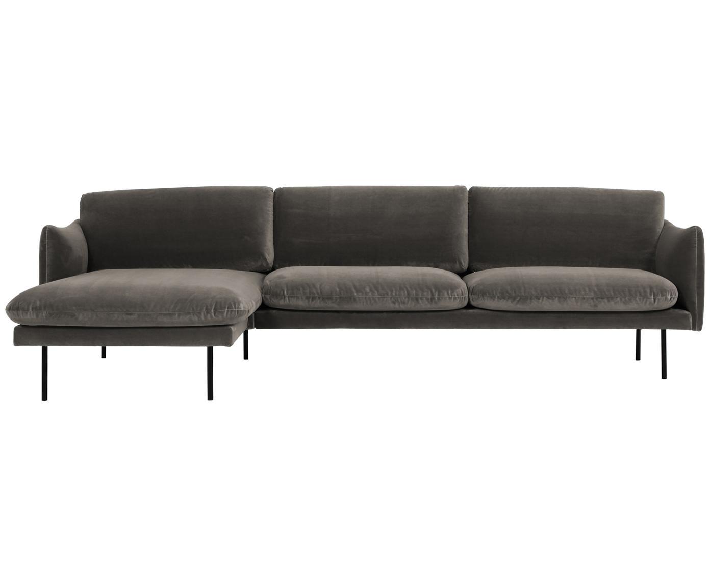 Sofa narożna z aksamitu Moby, Tapicerka: aksamit (wysokiej jakości, Stelaż: lite drewno sosnowe, Nogi: metal malowany proszkowo, Aksamitny szarobrązowy, S 280 x G 160 cm