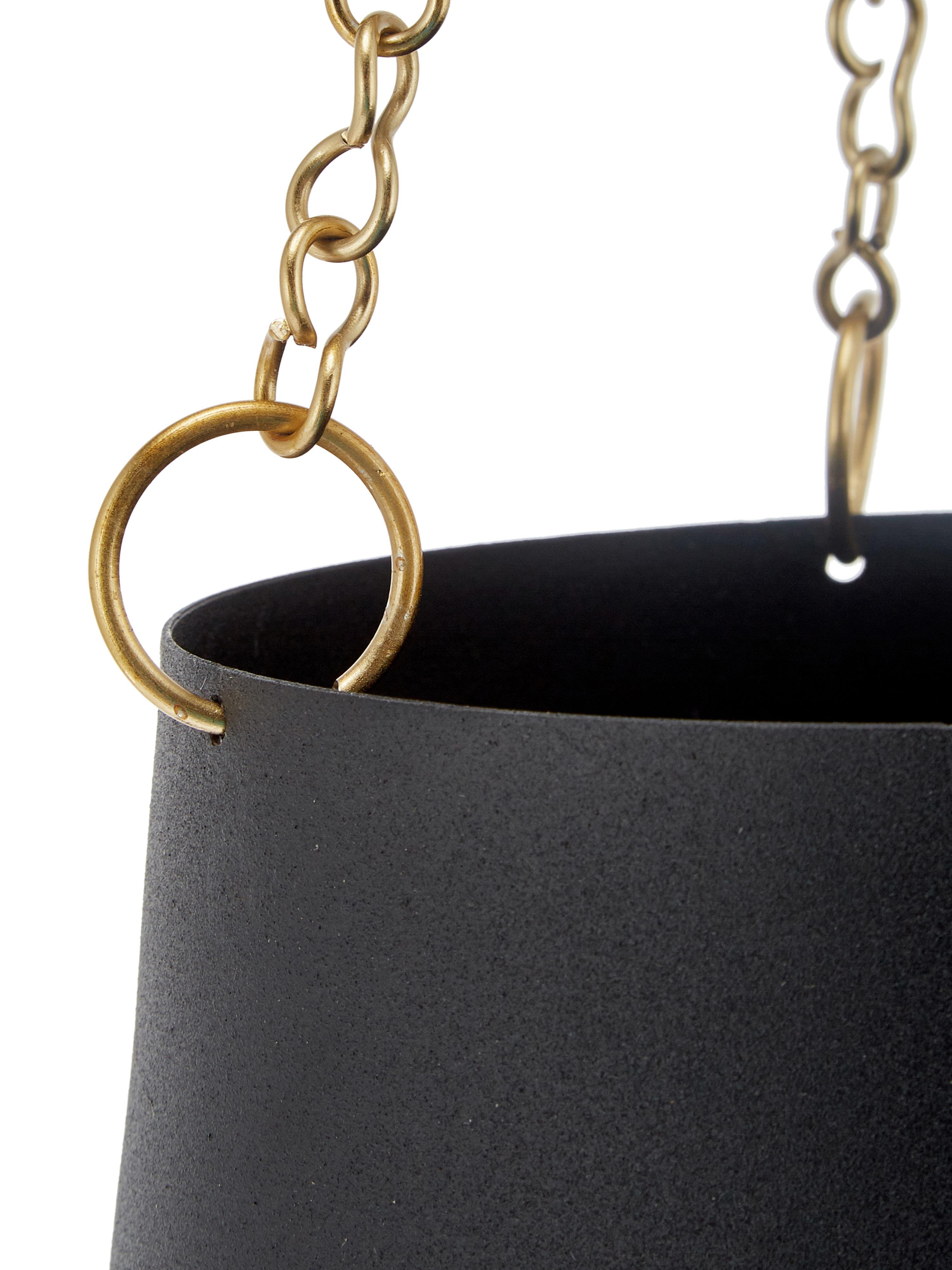 Blumenampel-Set Cask aus Metall, 3-tlg., Metall, lackiert, Schwarz, Sondergrößen