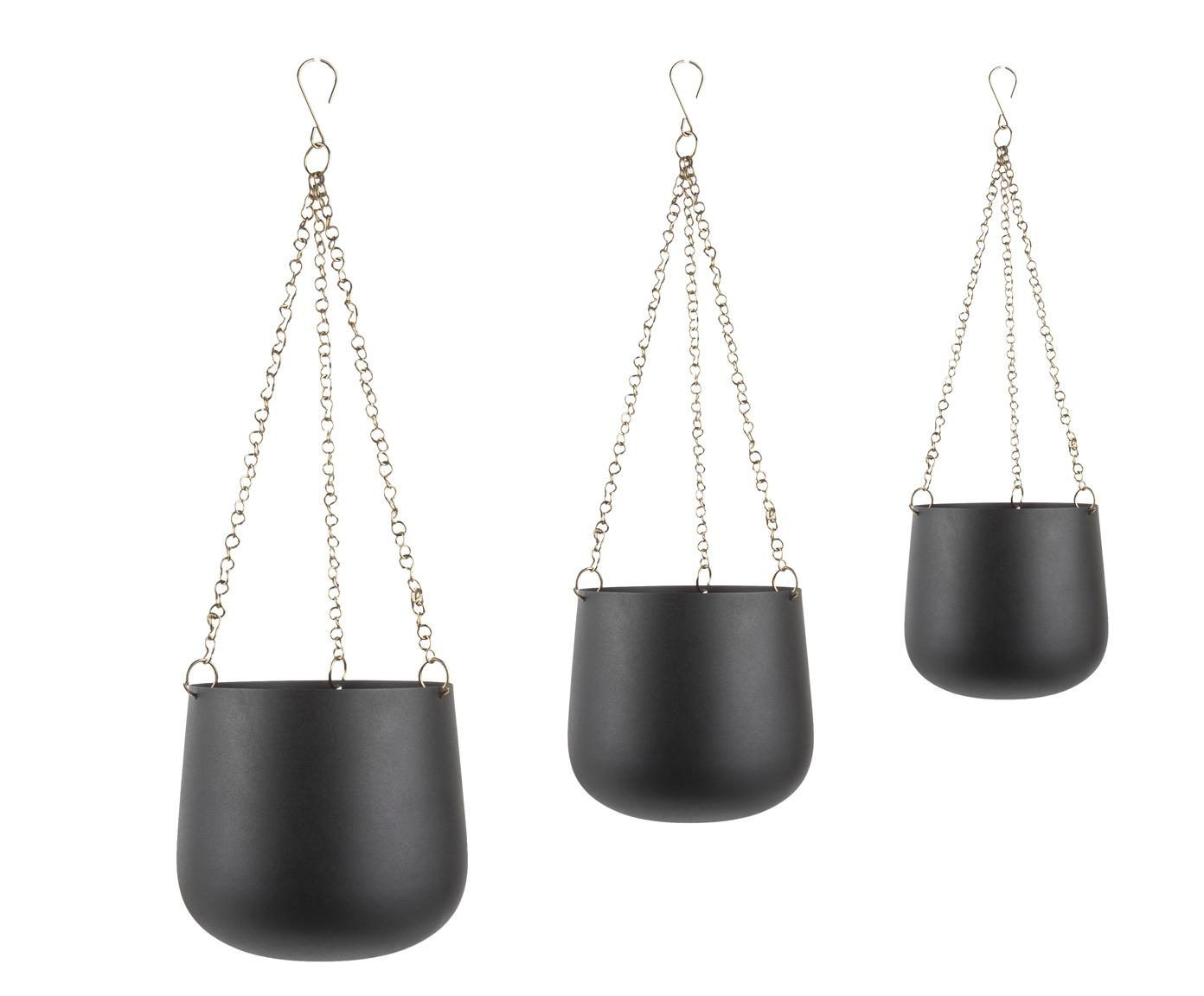 Komplet donic wiszących Cask, 3 elem., Metal lakierowany, Czarny, Różne rozmiary