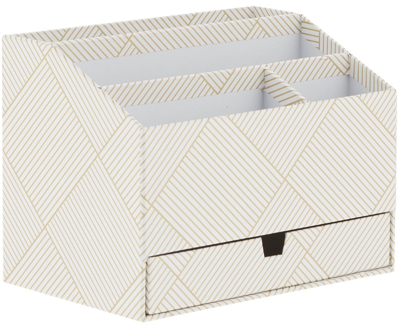 Organizer da ufficio Greta, Cartone solido e laminato, Dorato, bianco, Larg. 24 x Alt. 18 cm