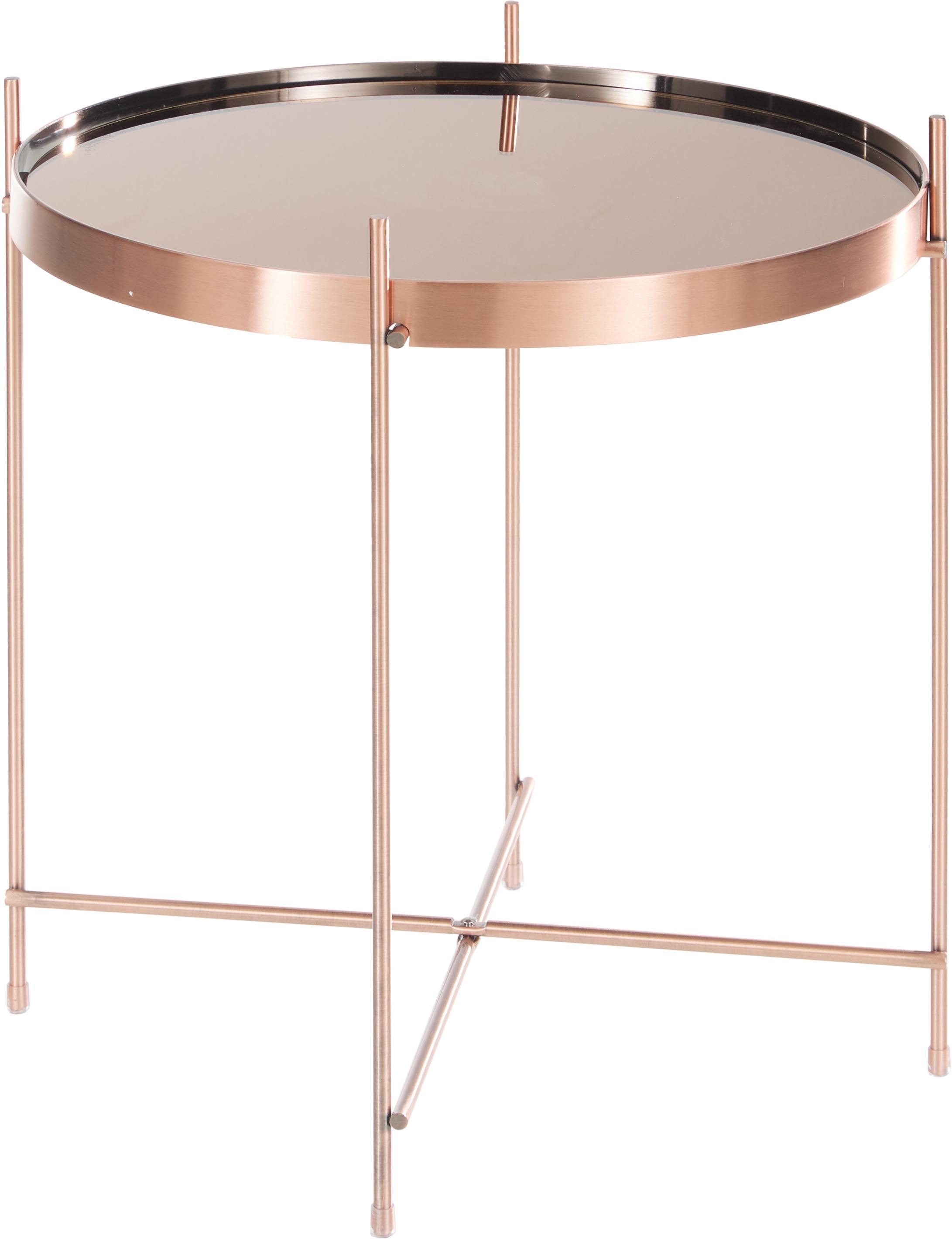 Bijzettafel Cupid met glazen tafelblad, Frame: verkoperd ijzer, Tafelblad: glas, Koperkleurig, Ø 43 x H 45 cm