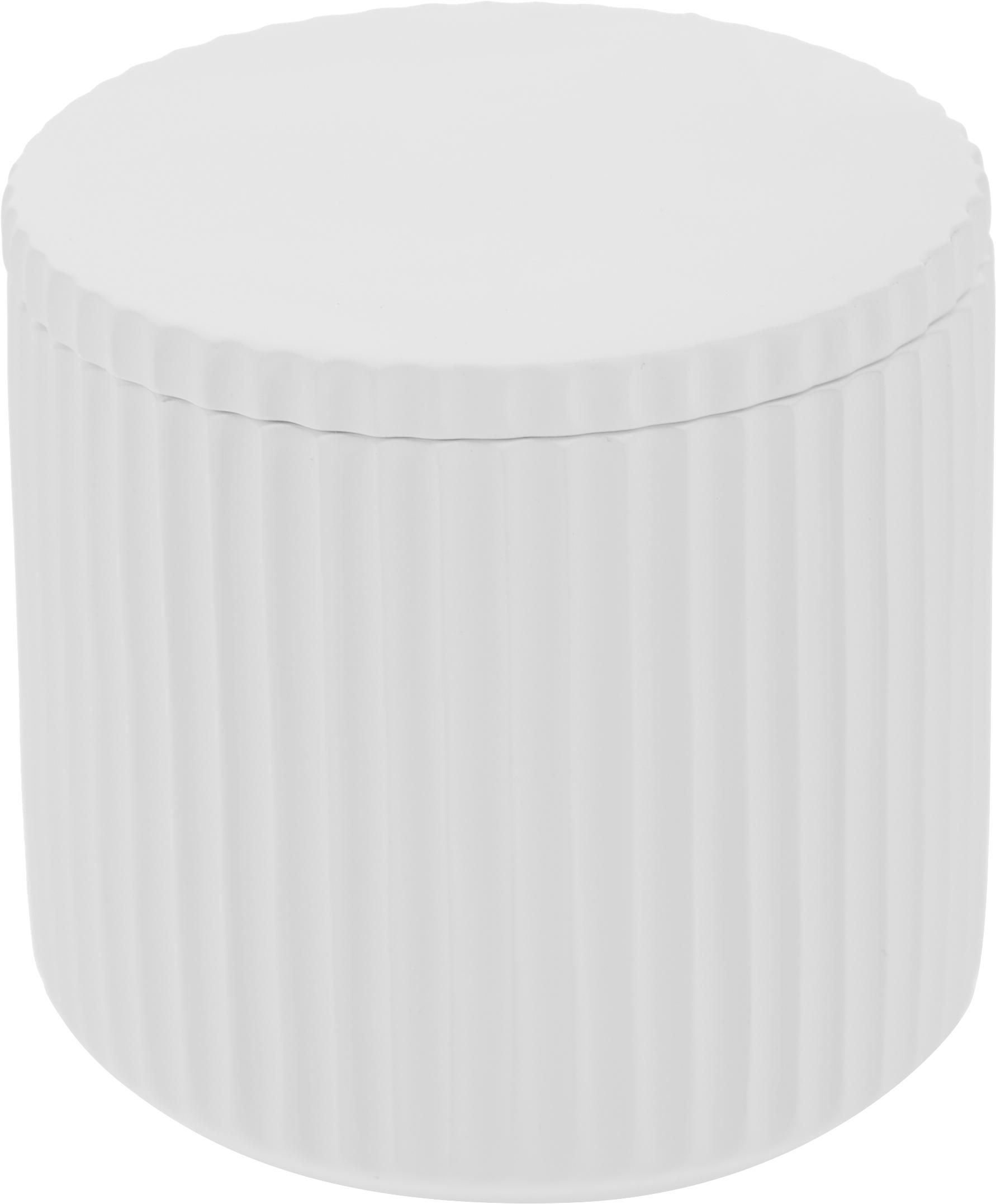 Caja decorativa Alessia, Porcelana, Blanco, Ø 9 x Al 9 cm
