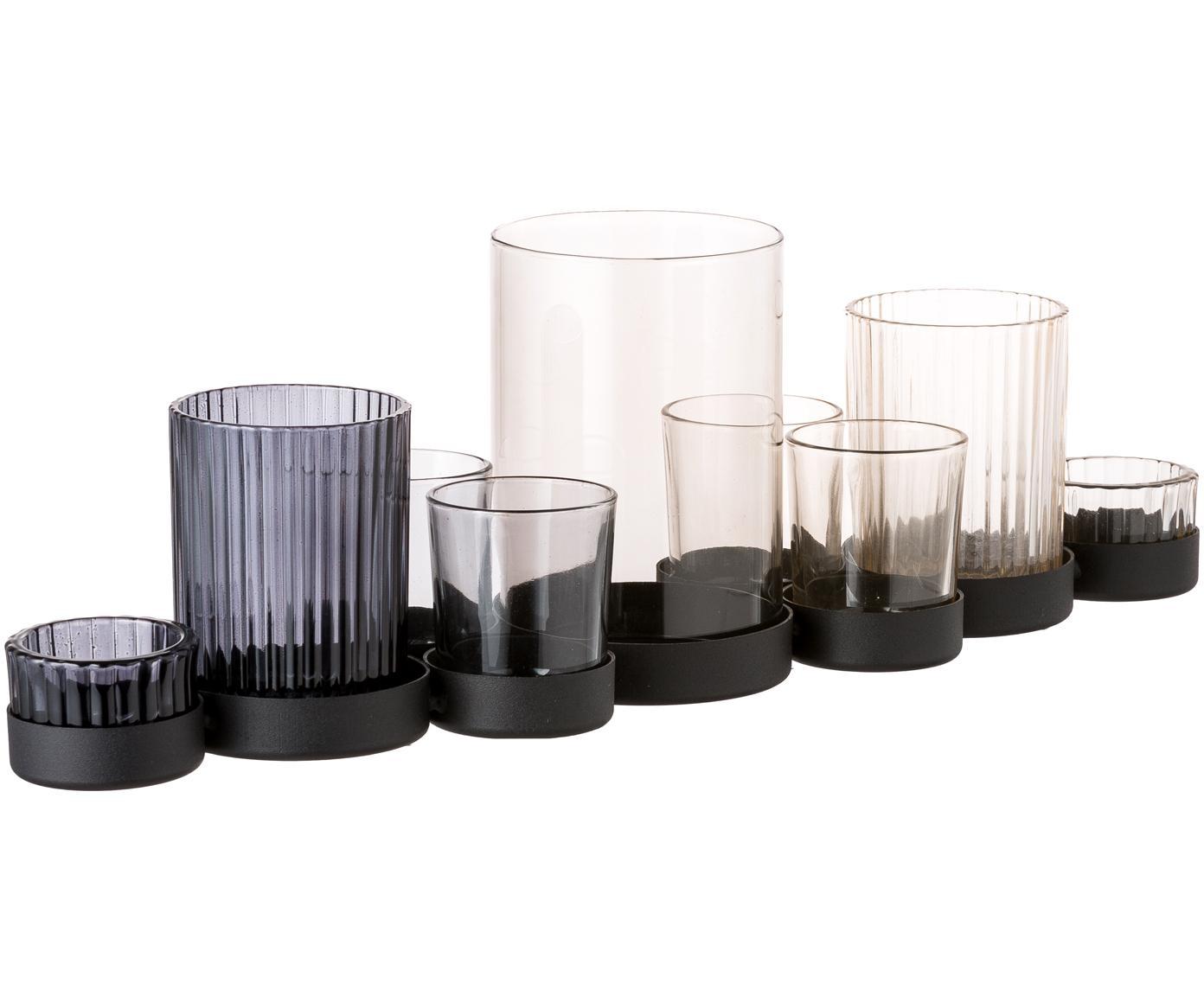 Set de portavelas Aliza, 3pzas., Portavelas: vidrio, Bandeja: metal, Multicolor, transparente, An 45 x Al 14 cm