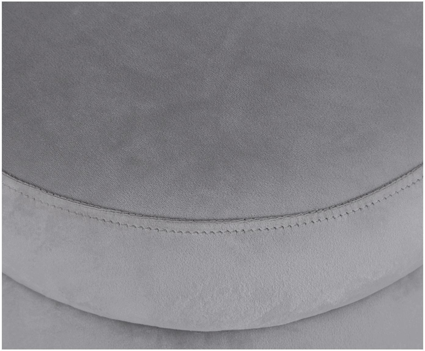 Samt-Hocker Alto, Bezug: Samt (Polyester) 30.000 S, Gestell: Sperrholz, Samt Grau, Ø 42 x H 48 cm