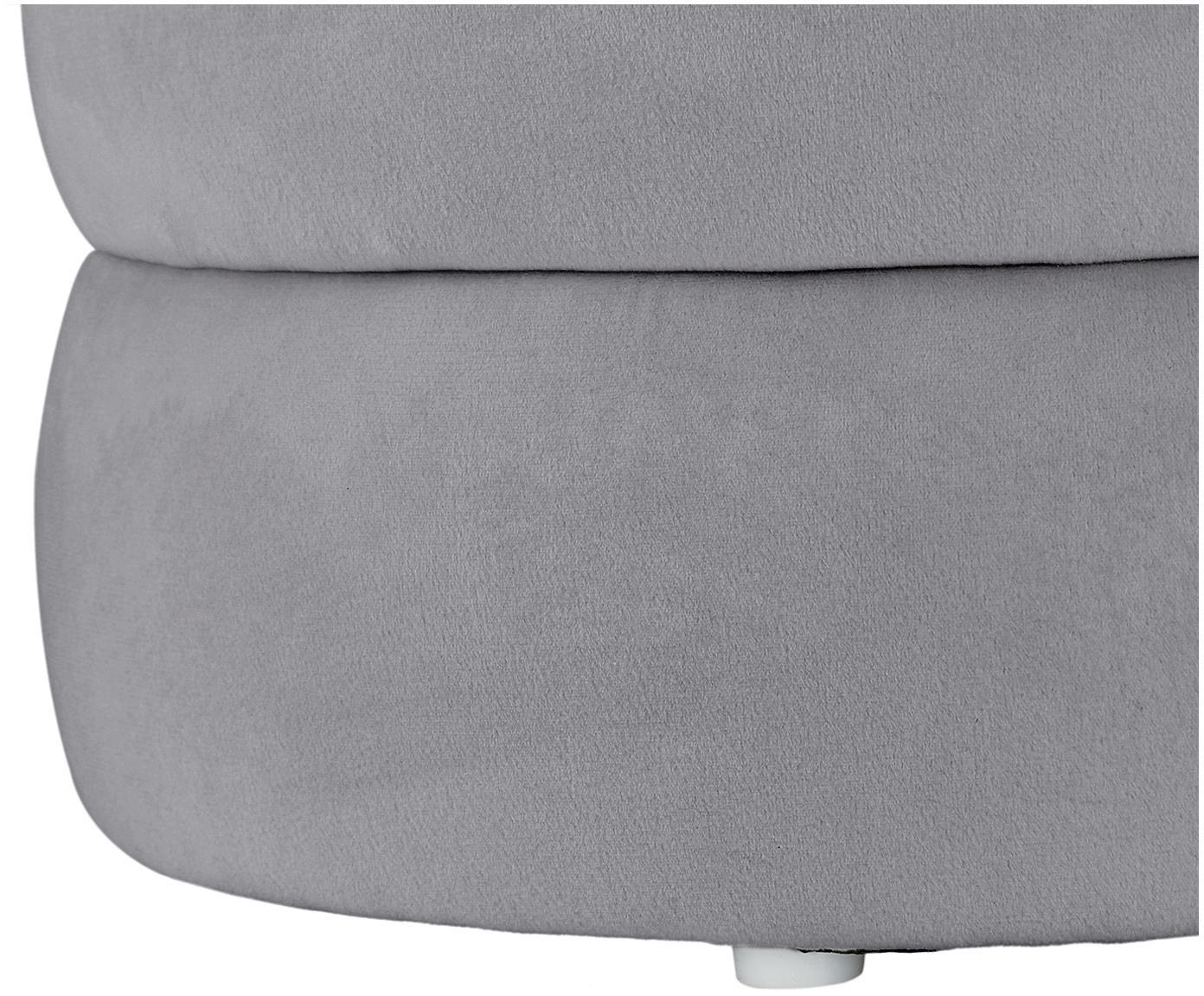 Sgabello in velluto Alto, Rivestimento: velluto (poliestere) 30.0, Struttura: compensato, Velluto grigio, Ø 42 x Alt. 48 cm