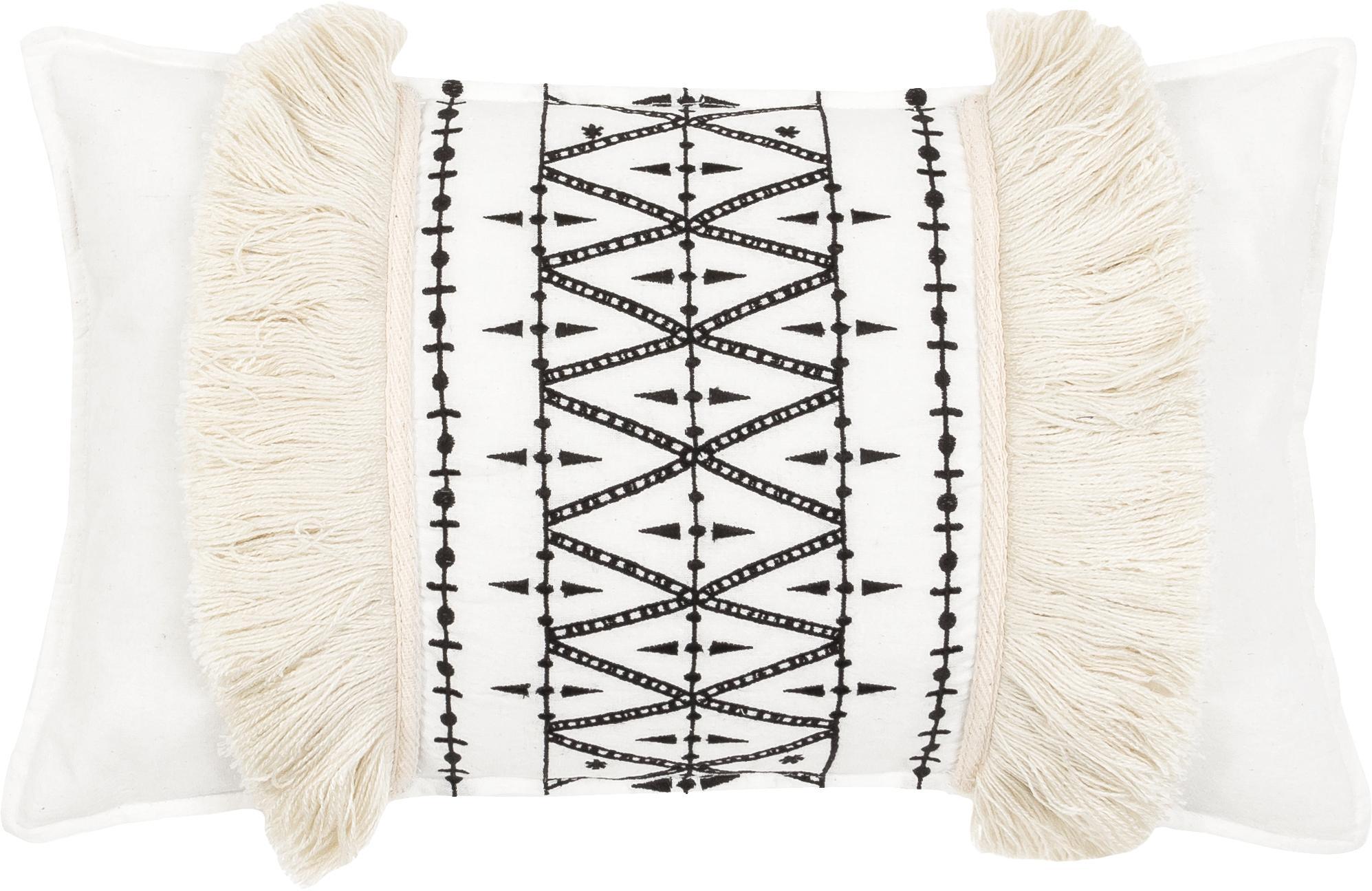 Federa arredo  ricamata Berbère Froufrou, Frange: misto lana, Bianco, nero, Larg. 30 x Lung. 50 cm