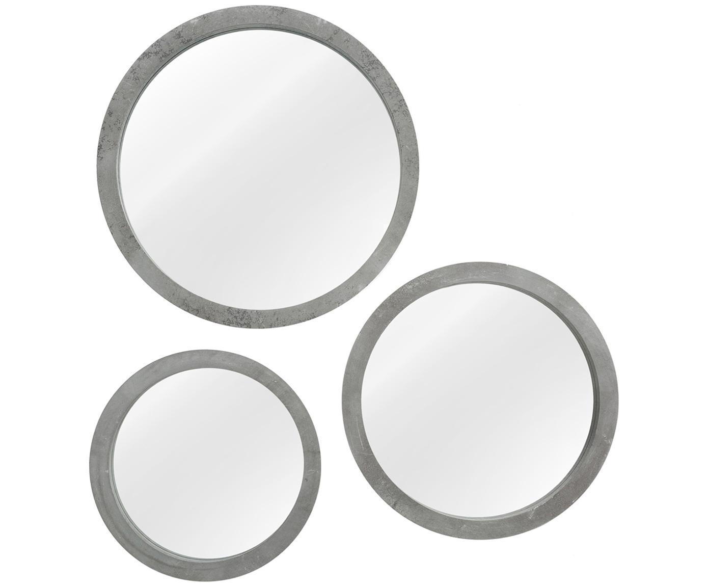 Komplet okrągłych luster ściennych Brest, 3 szt., Rama: szary<br>Przód: szkło lustrzane, Różne rozmiary