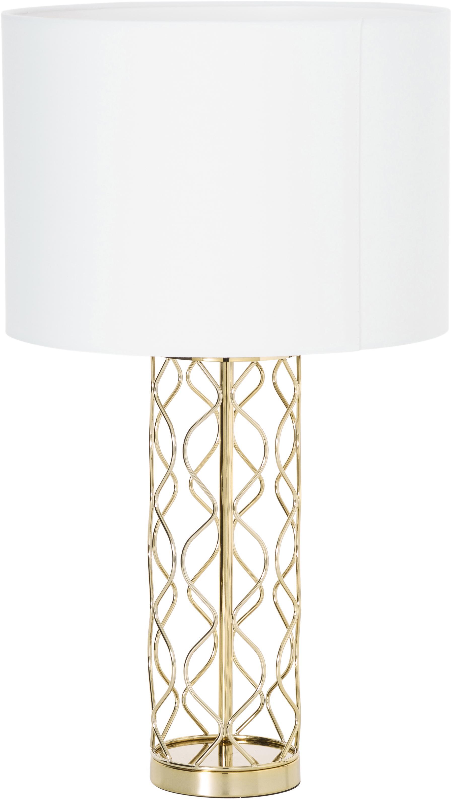 Grosse Tischlampe Adelaide in Weiss-Gold, Lampenschirm: Textil, Lampenschirm: Creme.Lampenfuss: Goldfarben, Ø 35 x H 62 cm