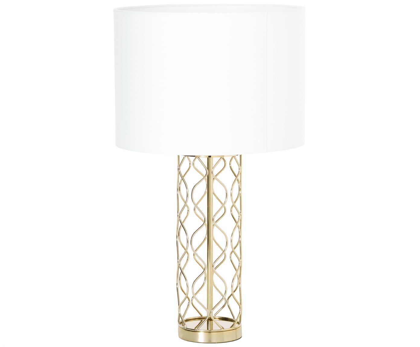 Tischleuchte Adelaide in Weiß-Gold, Lampenschirm: Textil, Lampenfuß: Metall, Lampenschirm: Creme.Lampenfuß: Goldfarben, Ø 35 x H 62 cm