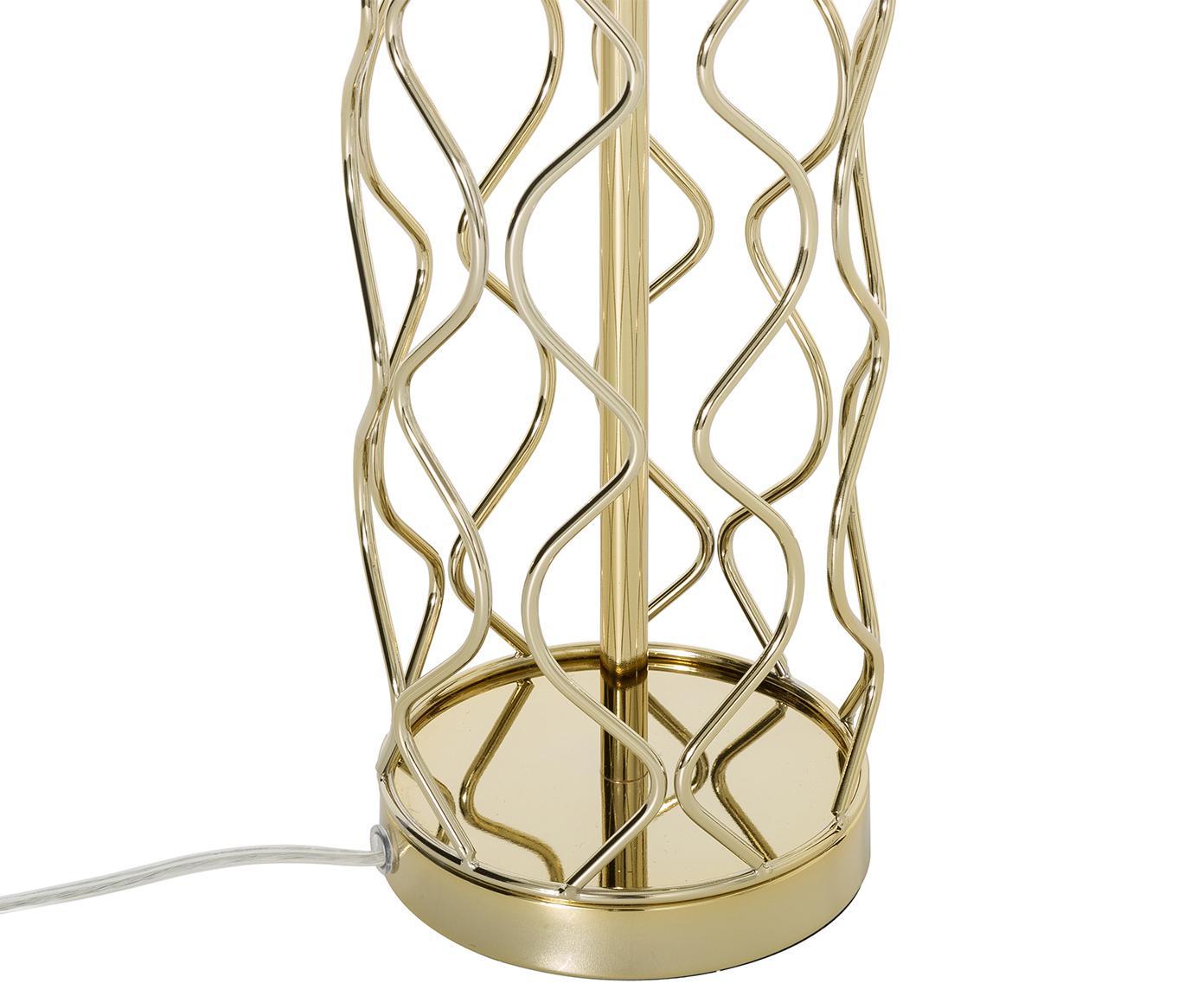 Tischleuchte Adelaide in Weiss-Gold, Lampenschirm: Textil, Lampenschirm: Creme.Lampenfuss: Goldfarben, Ø 35 x H 62 cm