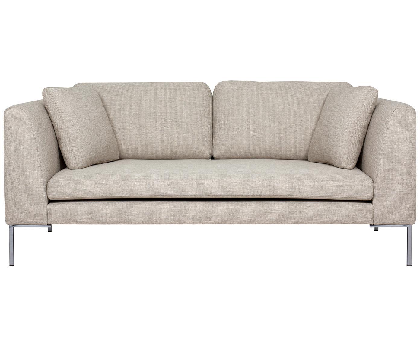 Sofa Emma (2-Sitzer), Bezug: Polyester 100.000 Scheuer, Gestell: Massives Kiefernholz, Füße: Metall, galvanisiert, Webstoff Beige, Füße Silber, B 194 x T 100 cm