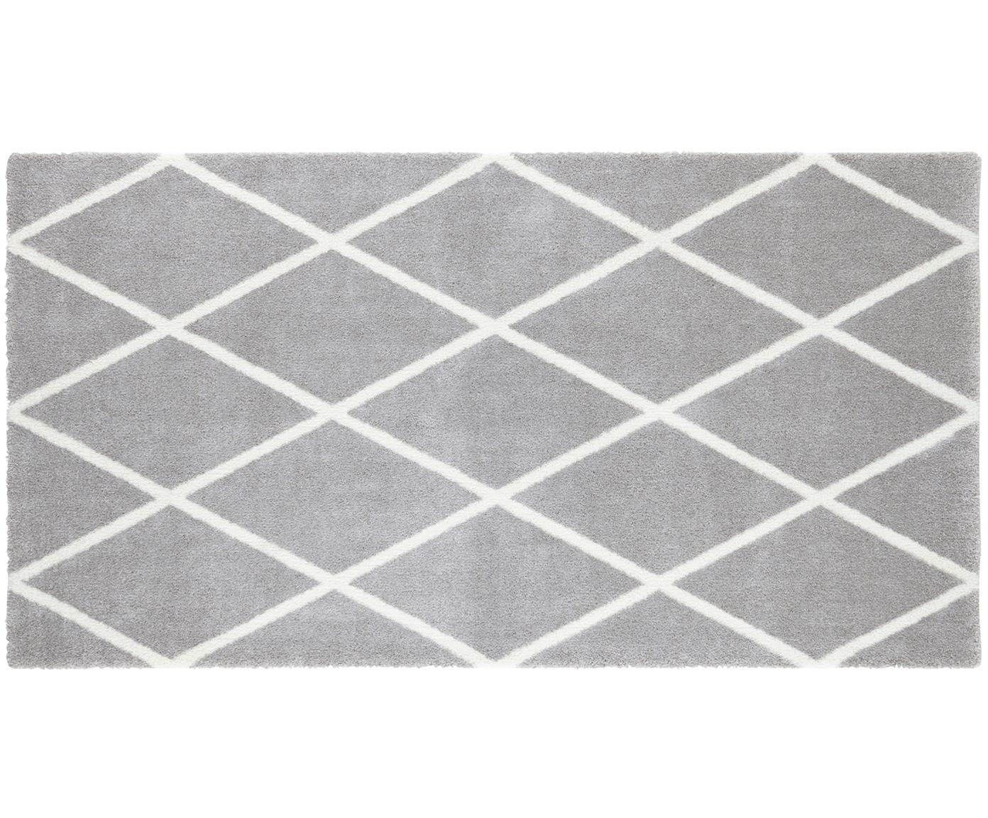 Teppich Lunel mit Rautenmuster, Flor: 85%Polypropylen, 15%Pol, Silbergrau, Creme, B 80 x L 150 cm (Größe XS)
