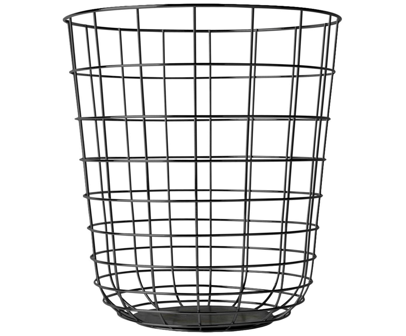 Papiermand Wire Bin, Mand: staal, Zwart, Ø 32 x H 35 cm
