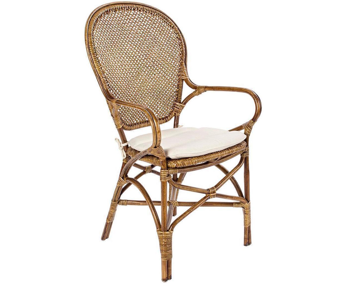Silla con reposabrazos Miel, Estructura: madera de ratán pintada, Asiento: algodón, Blanco, marrón, An 55 x L 96 cm