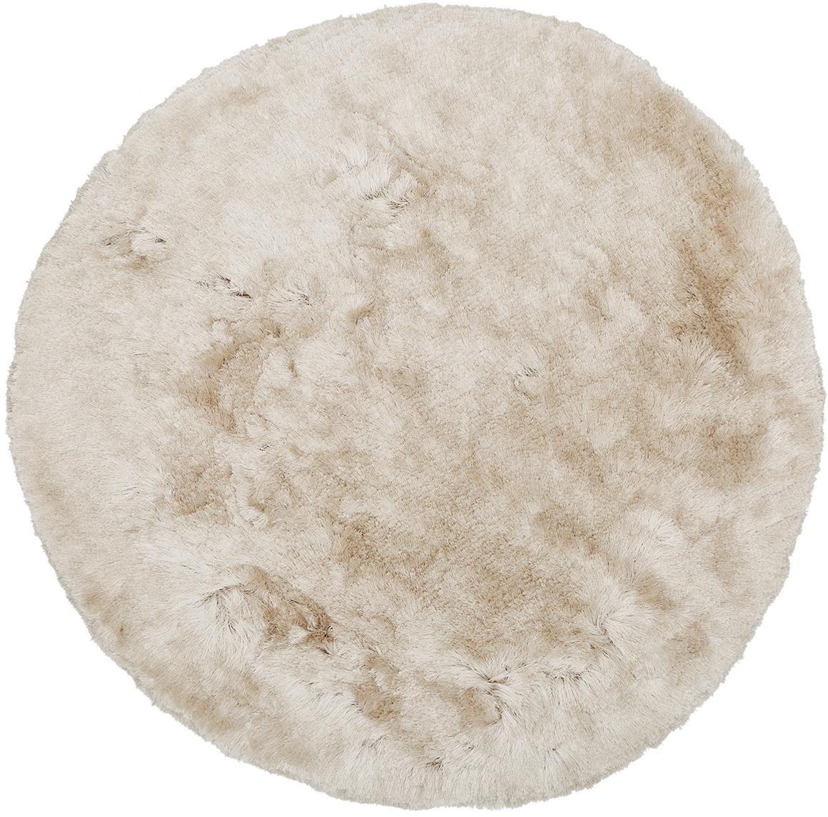 Glänzender Hochflor-Teppich Jimmy in Elfenbein, rund, Flor: 100% Polyester, Elfenbein, Ø 150 cm (Grösse M)