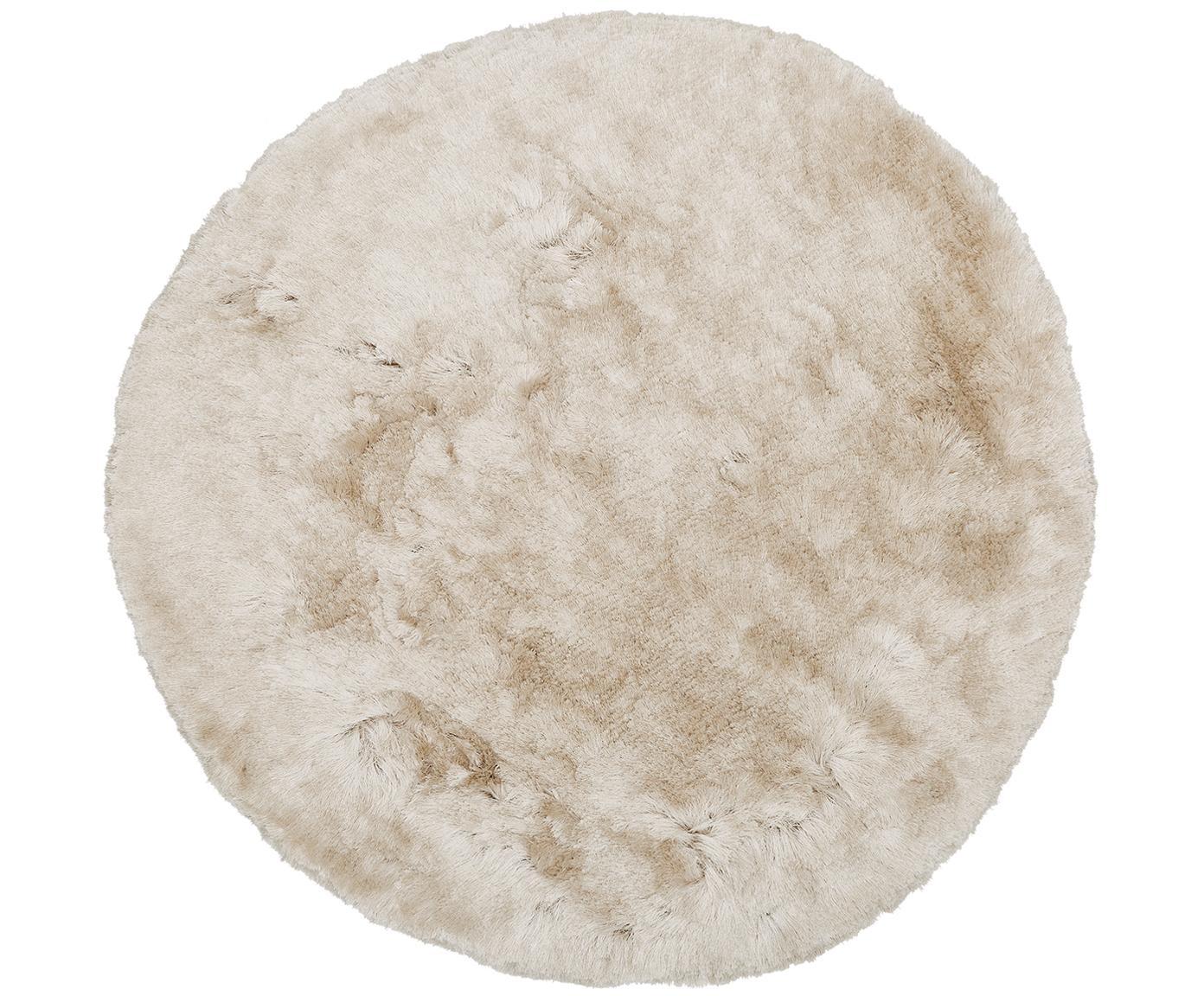 Glanzend hoogpolig  vloerkleed Jimmy ivoorkleurig, rond, Bovenzijde: 100% polyester, Onderzijde: 100% katoen, Ivoorkleurig, Ø 150 cm