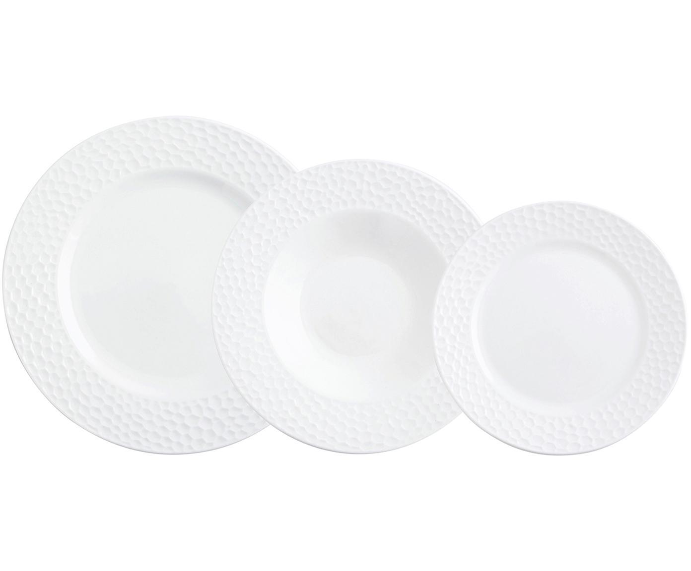 Vajilla de porcelana Relieve, 18pzas., Porcelana, Blanco, Tamaños diferentes