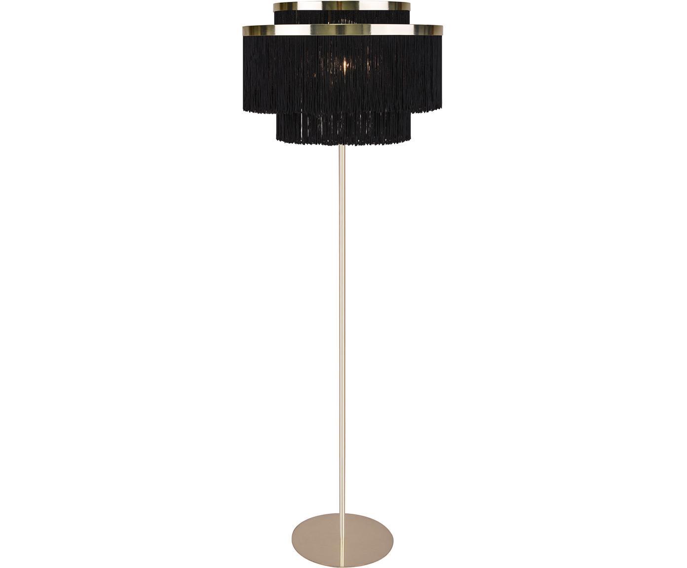 Lampa podłogowa Frans, Tkanina, metal, Czarny, odcienie złotego, Ø 52 x W 158 cm