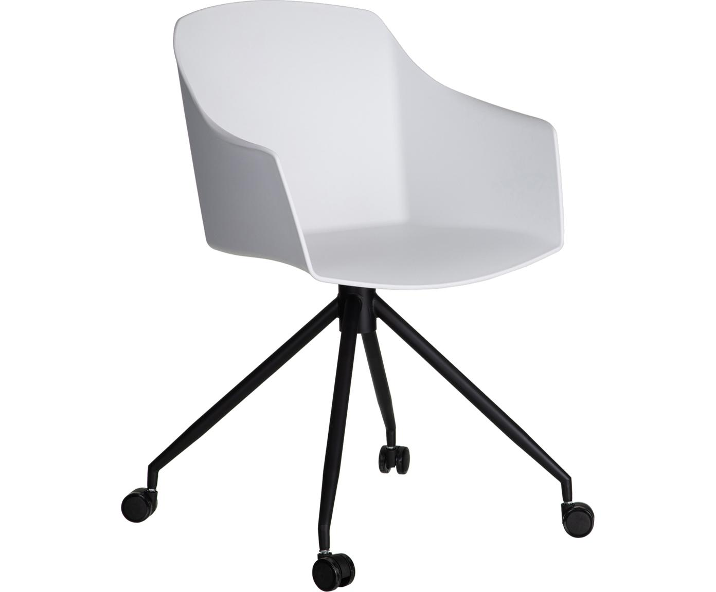 Weißer Bürostuhl Valencia mit Rollen, Polyurethan, Metall, Weiß, Schwarz, B 56 x T 54 cm
