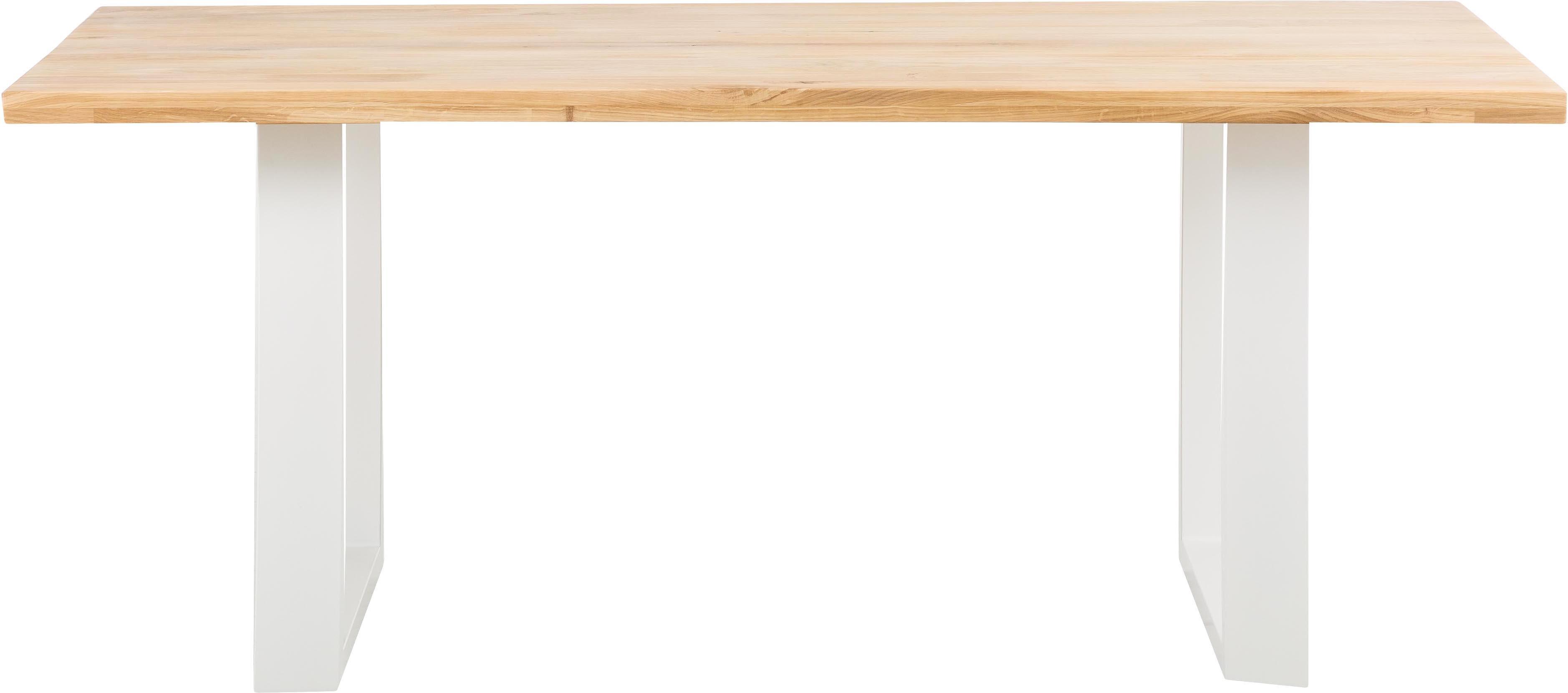 Mesa de comedor Oliver, tablero de madera maciza, Tablero: madera de roble silvestre, Patas: acero mate lacado, Roble, blanco, An 180 x F 90 cm