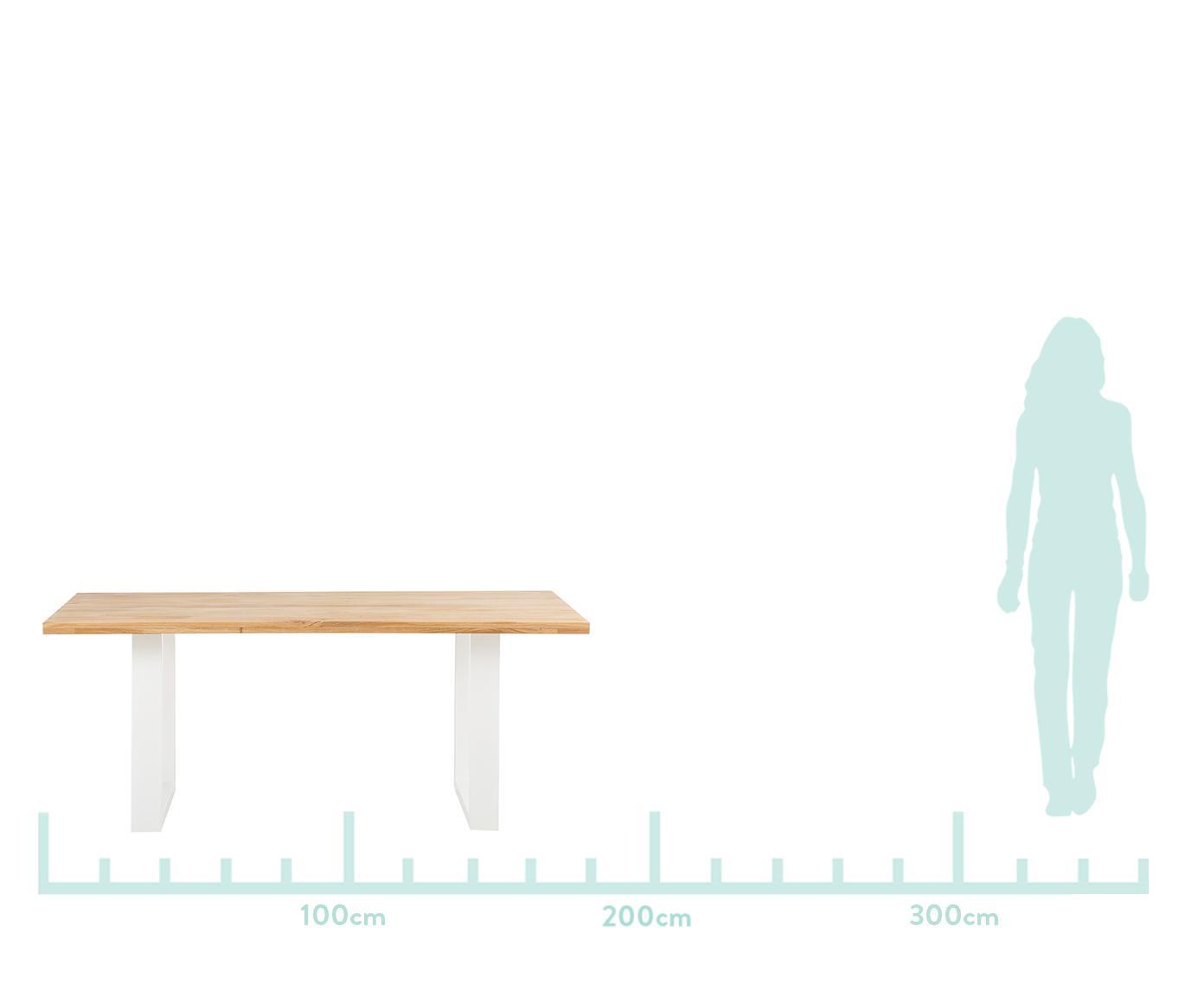 Tavolo con piano in legno massello Oliver, Piano d'appoggio: Quercia selvatica europea, Gambe: acciaio laccato opaco Il , Piano d'appoggio: quercia selvatica Gambe: bianco, Larg. 180 x Prof. 90 cm