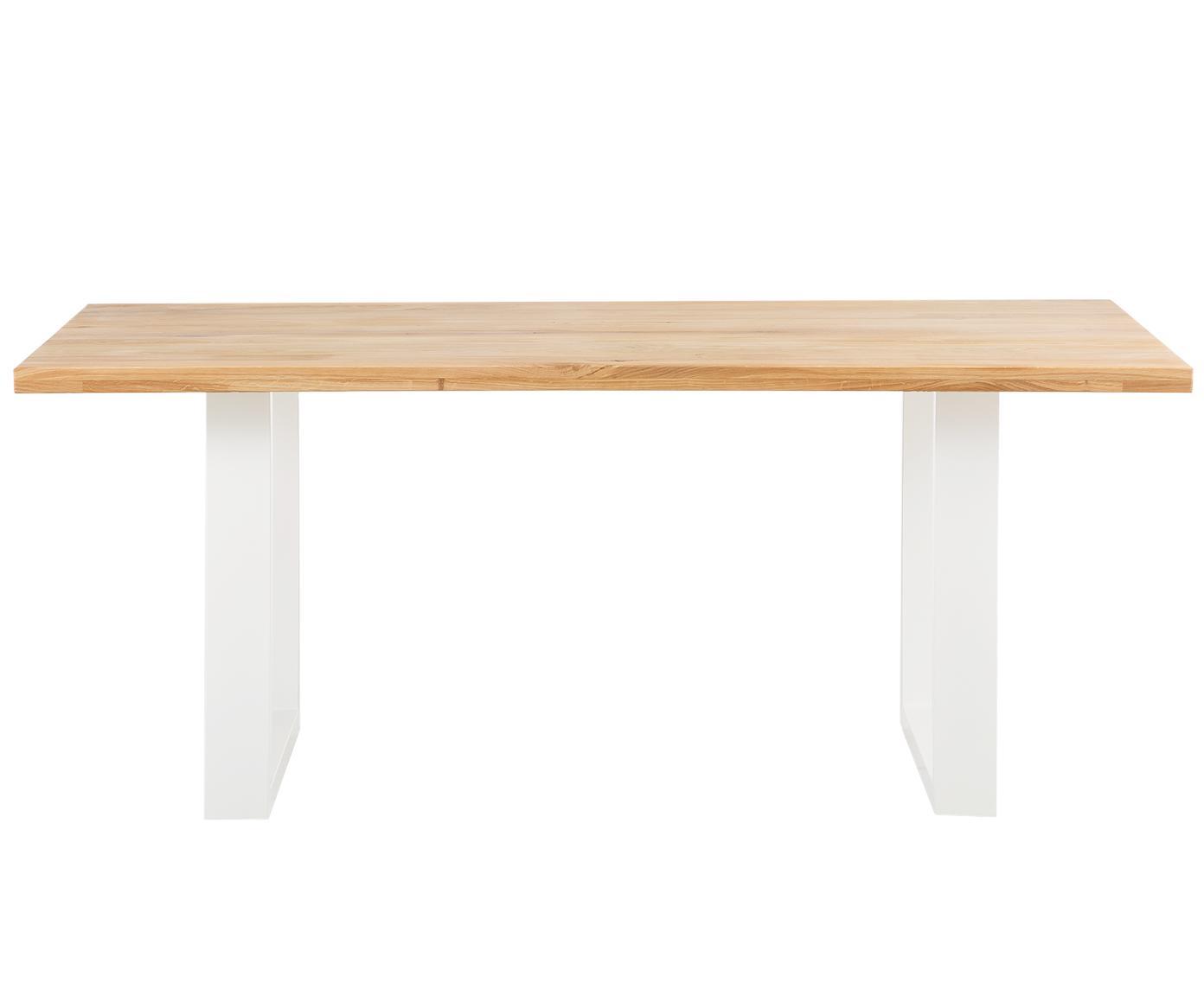 Stół do jadalni  z litego drewna Oliver, Blat: europejskie, dzikie, lite, Nogi: stal lakierowana matowo, Blat: drewno dębowe Nogi: biały, S 180 x G 90 cm