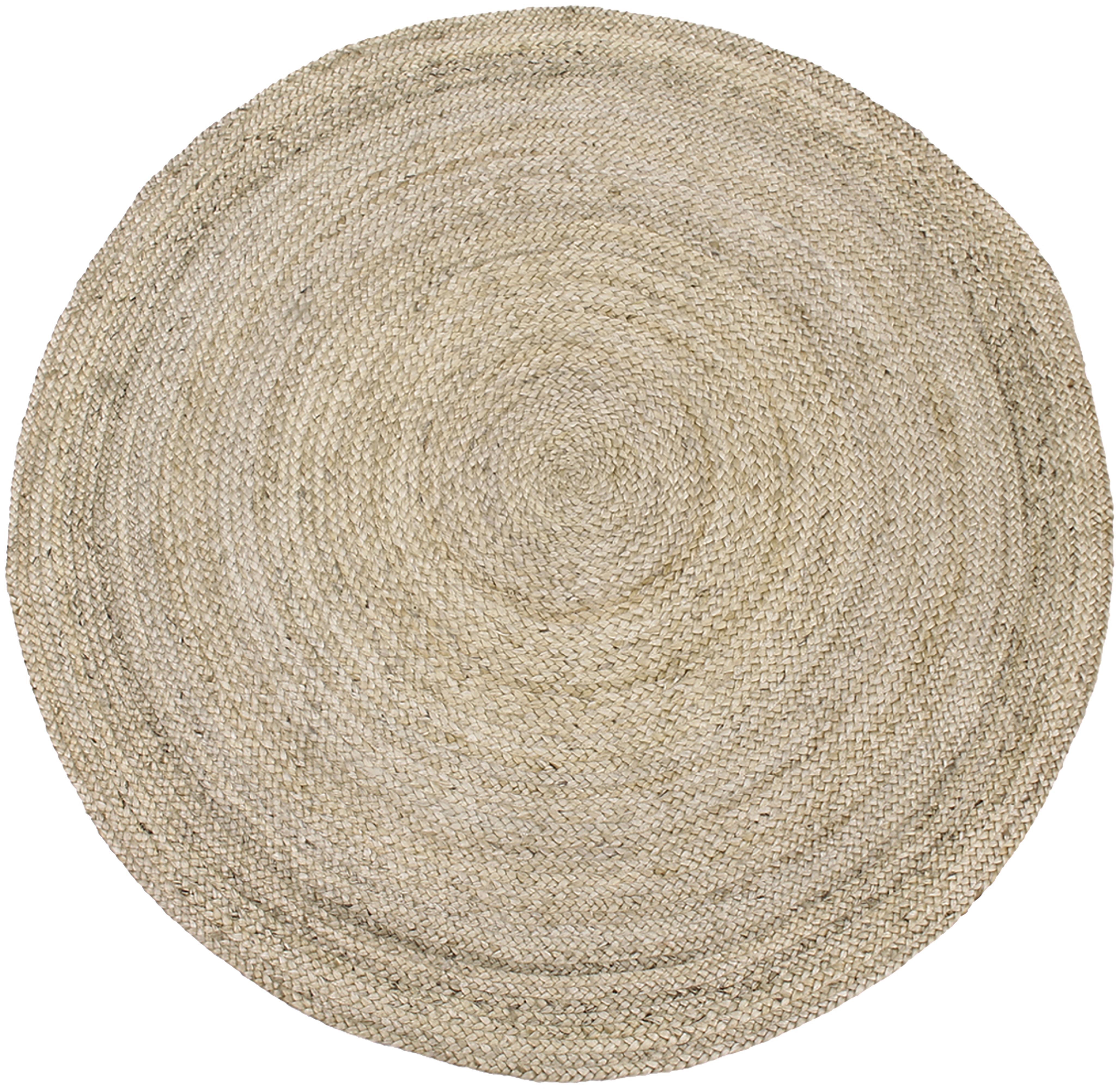 Alfombra redonda artesanal de yute Sharmila, Parte superior: yute, Reverso: yute, Beige, Ø 140 cm (Tamaño M)