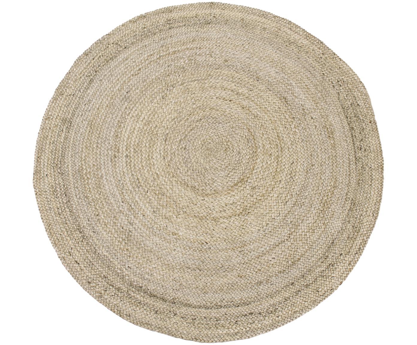 Rond handgemaakt juten vloerkleed Sharmila, Jute, Beige, Ø 200 cm (maat L)