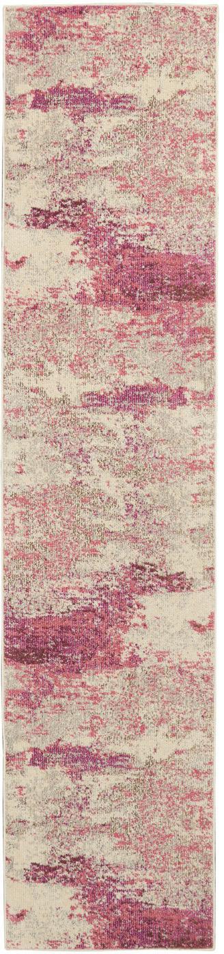 Alfombra de diseño Celestial, Parte superior: 100%polipropileno, Reverso: yute, Beige, rosa, An 70 x L 305 cm