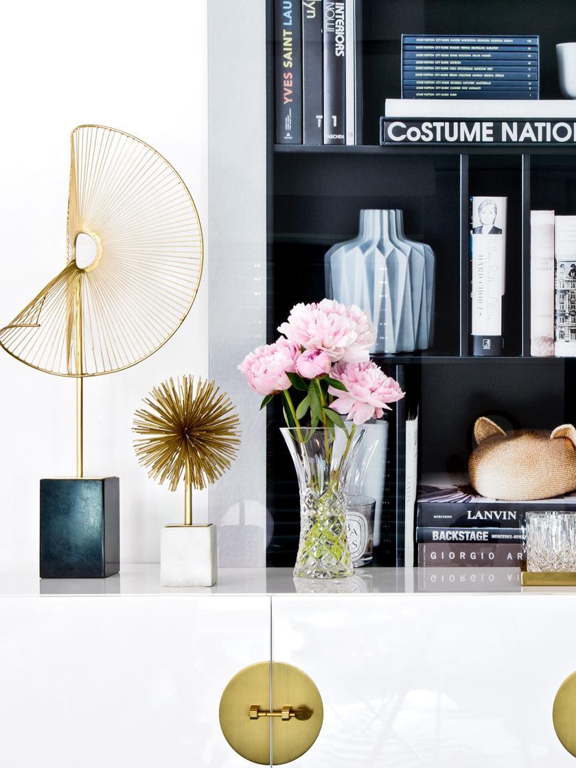 Oggetto decorativo Marball, Ornamento: metallo, Dorato , bianco, Alt. 30 cm