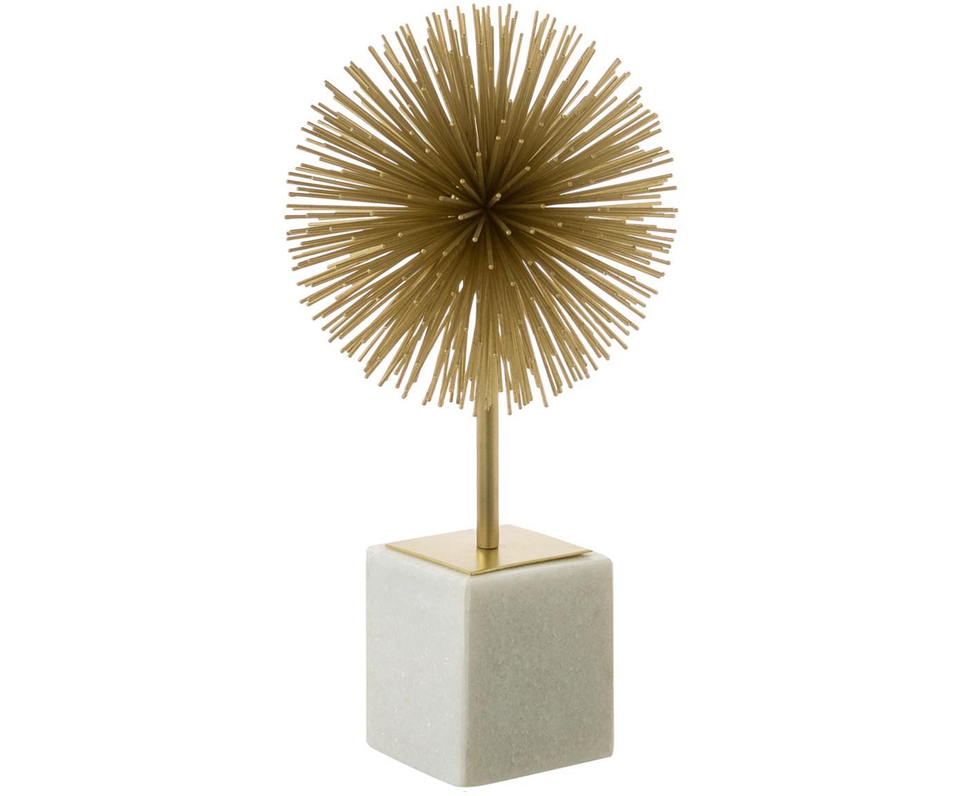 Deko-Objekt Marball, Aufsatz: Metall, Fuß: Marmor, Unterseite: Filz, Goldfarben, Weiß, H 30 cm