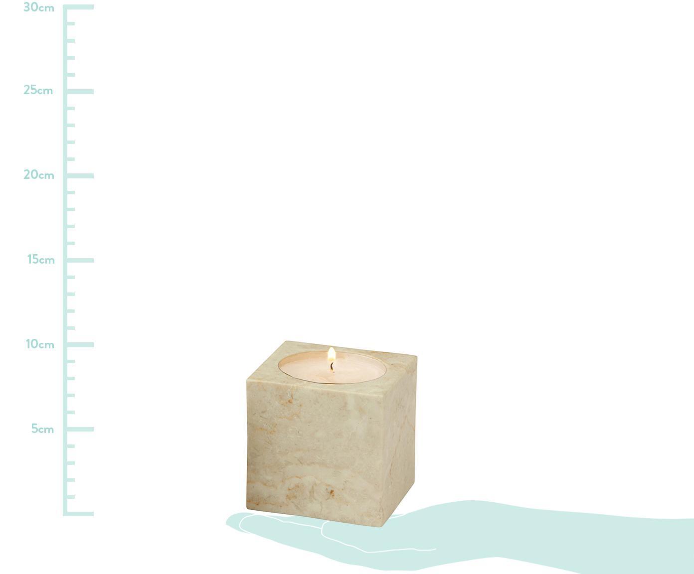 Komplet świeczników na podgrzewacze z marmuru Luxor, 2 elem., Marmur, Beżowy, S 8 x W 8 cm