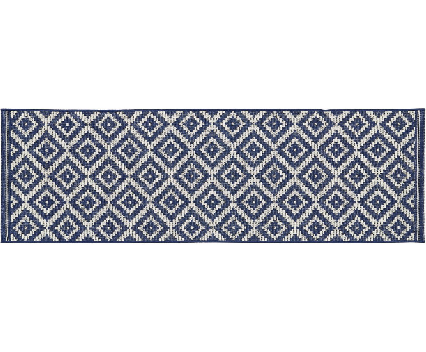 In- & outdoor loper met patroon Miami, Bovenzijde: polypropyleen, Onderzijde: polyester, Crèmewit, blauw, 80 x 250 cm