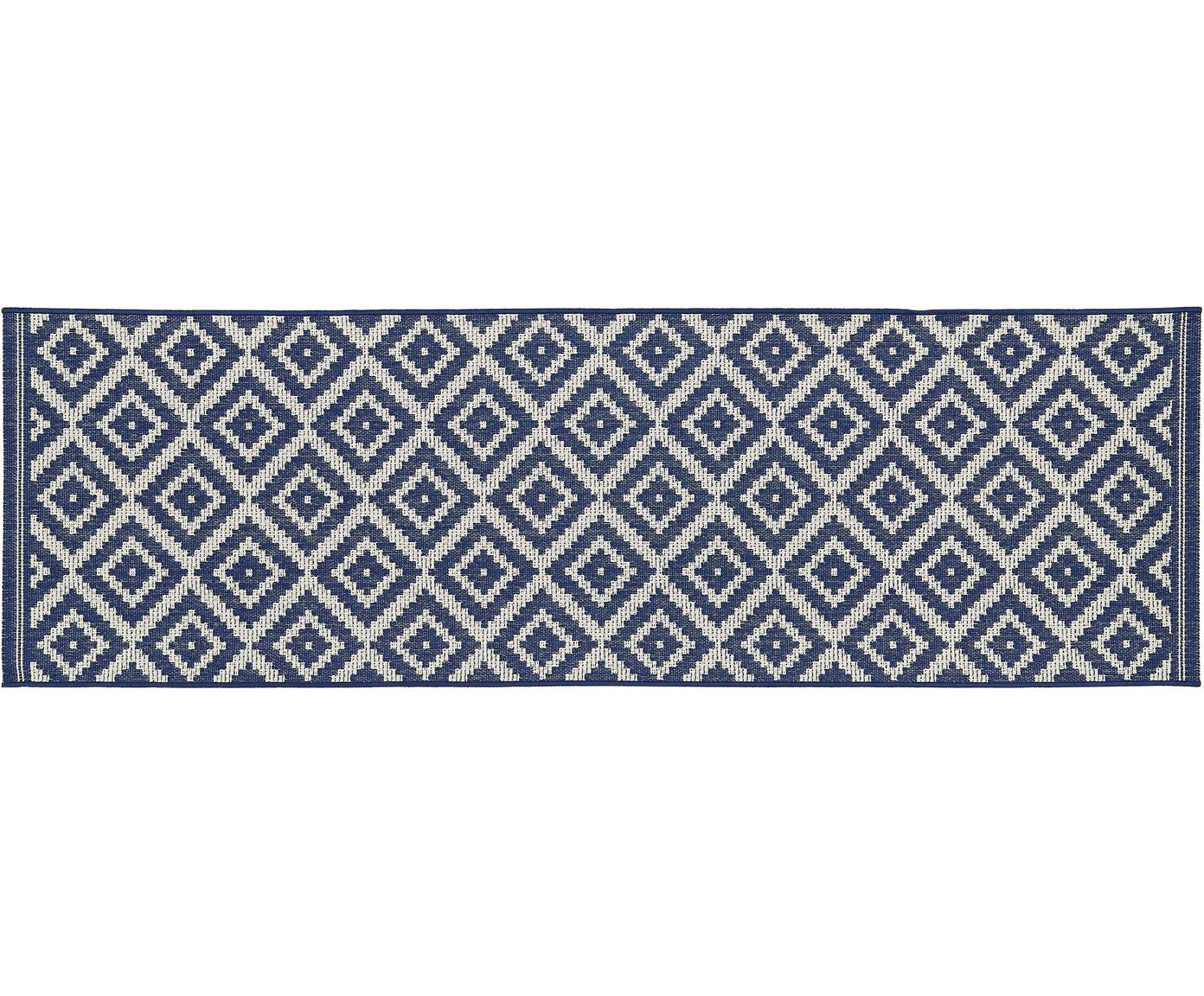 Passatoia da interno-esterno Miami, Retro: poliestere, Bianco crema, blu, Larg. 80 x Lung. 250 cm